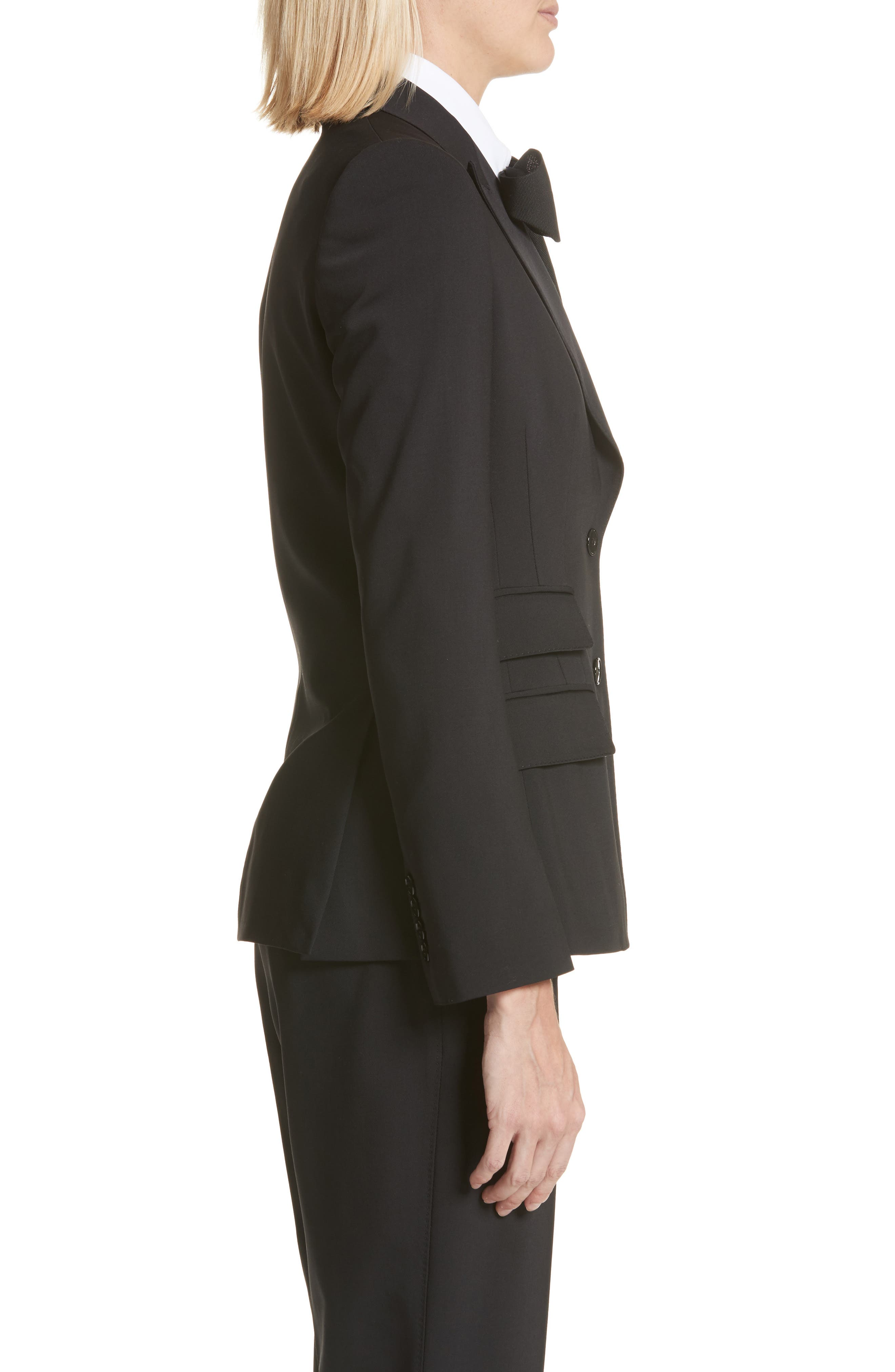 Two Button Stretch Wool Jacket,                             Alternate thumbnail 3, color,                             BLACK
