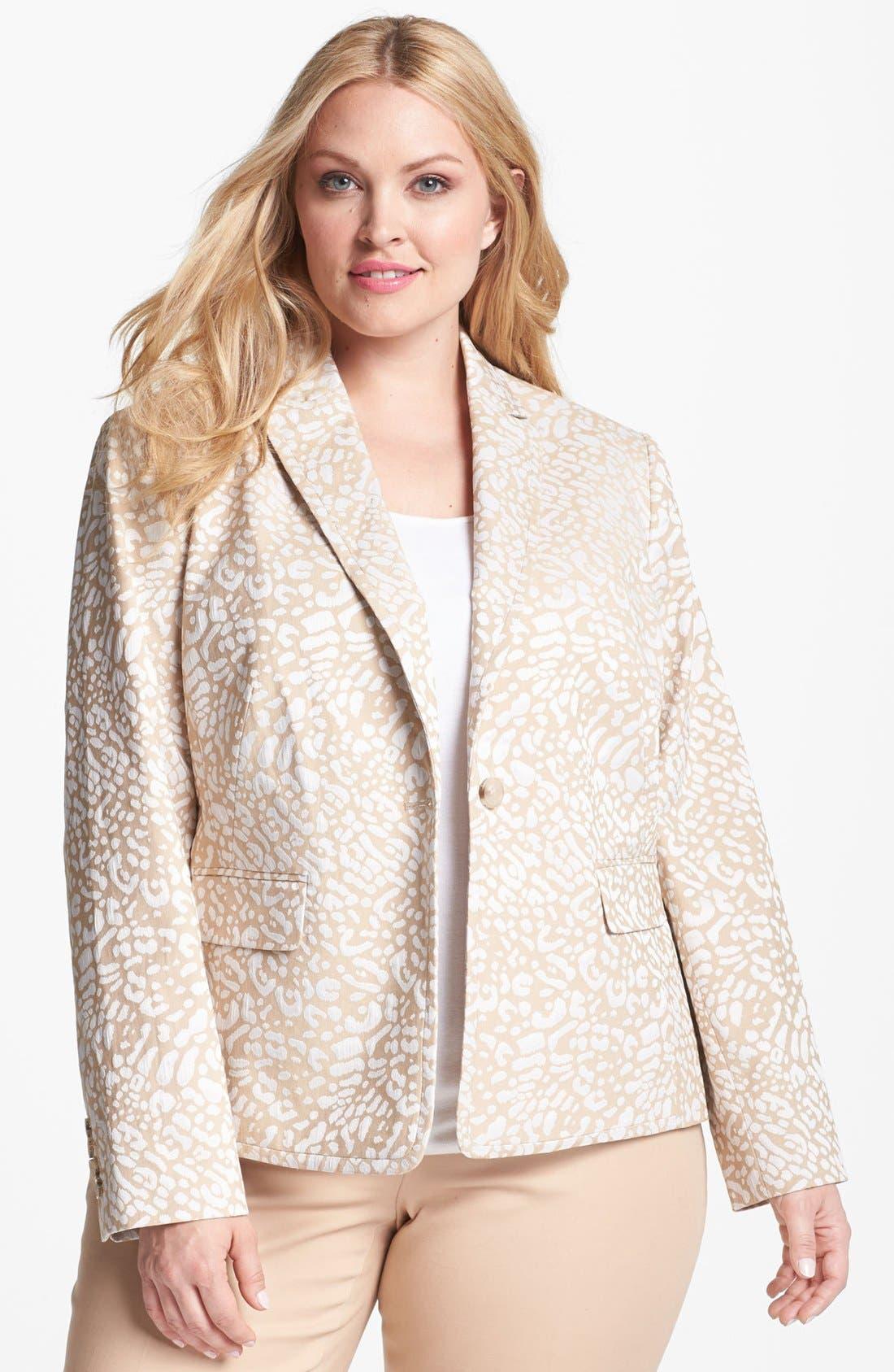 ANNE KLEIN,                             Leopard Jacquard Jacket,                             Main thumbnail 1, color,                             250