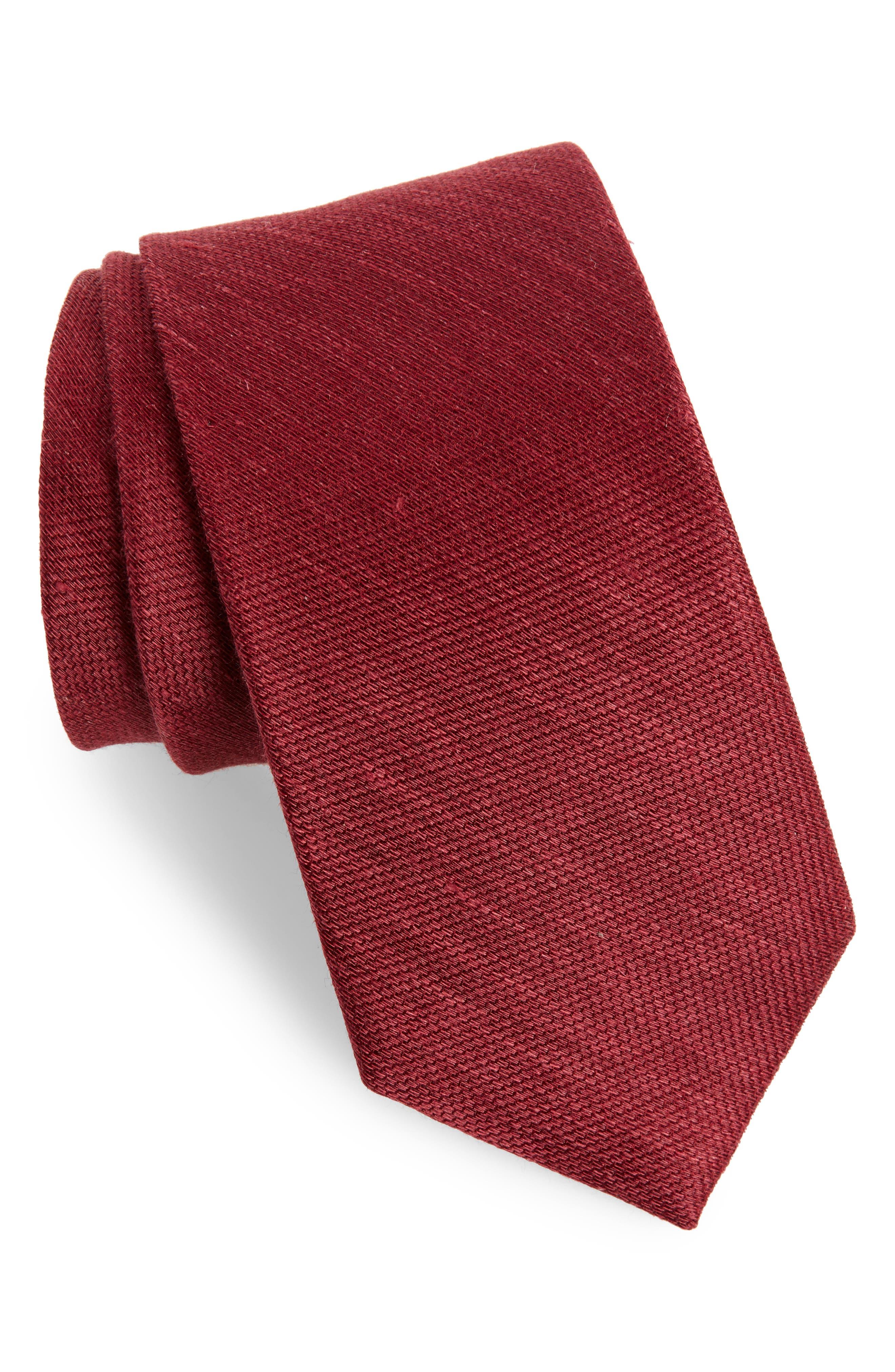 Jet Set Solid Silk & Linen Tie,                             Main thumbnail 1, color,                             930