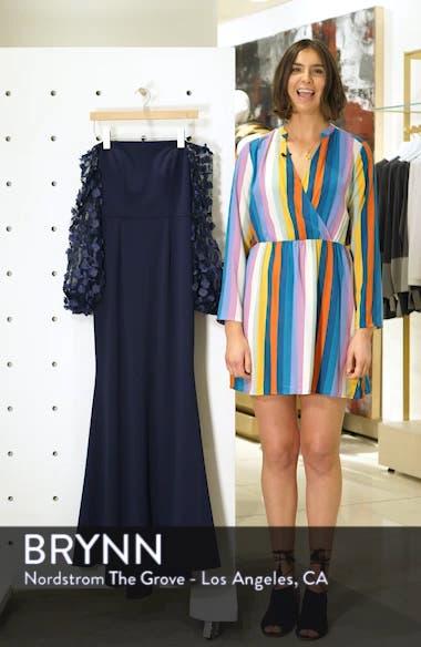 Off the Shoulder 3D Floral Sleeve Scuba Crepe Evening Dress, sales video thumbnail