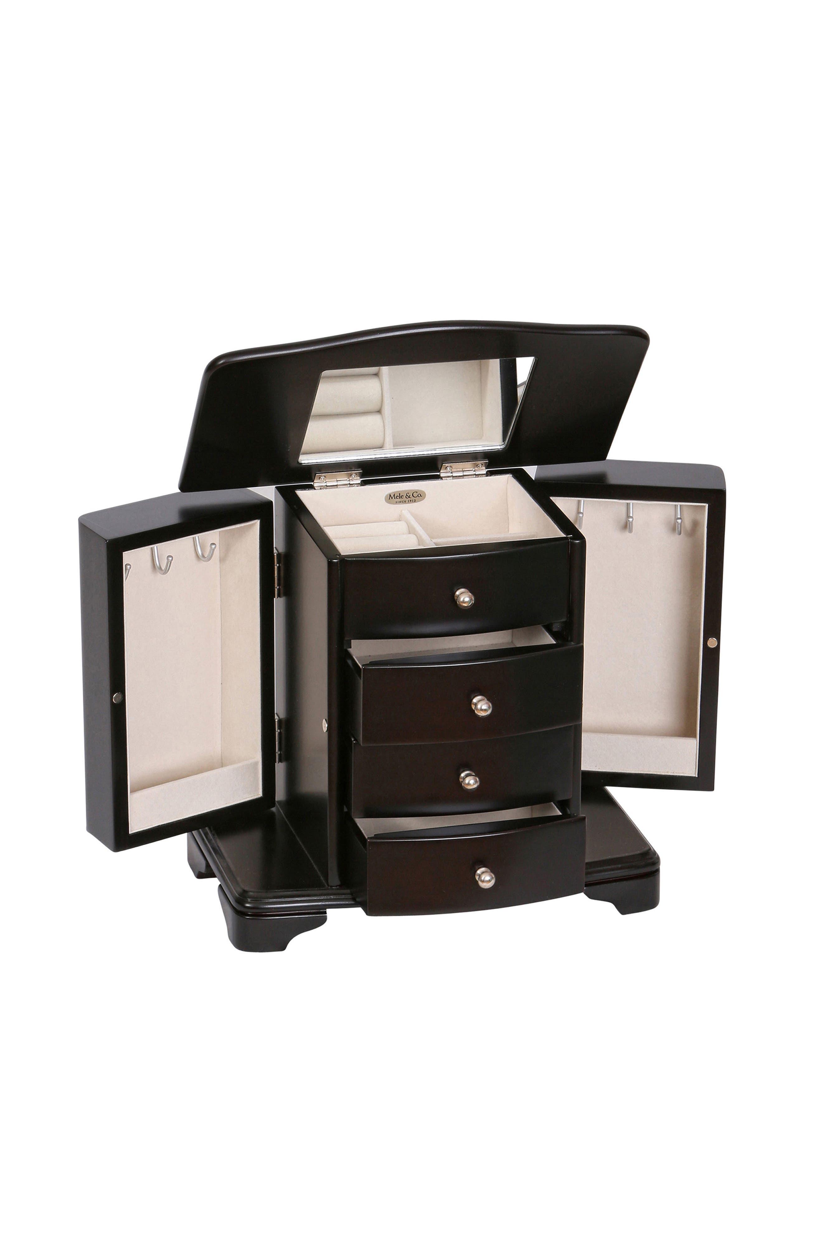 Dane Wooden Jewelry Box,                             Alternate thumbnail 3, color,                             BLACK