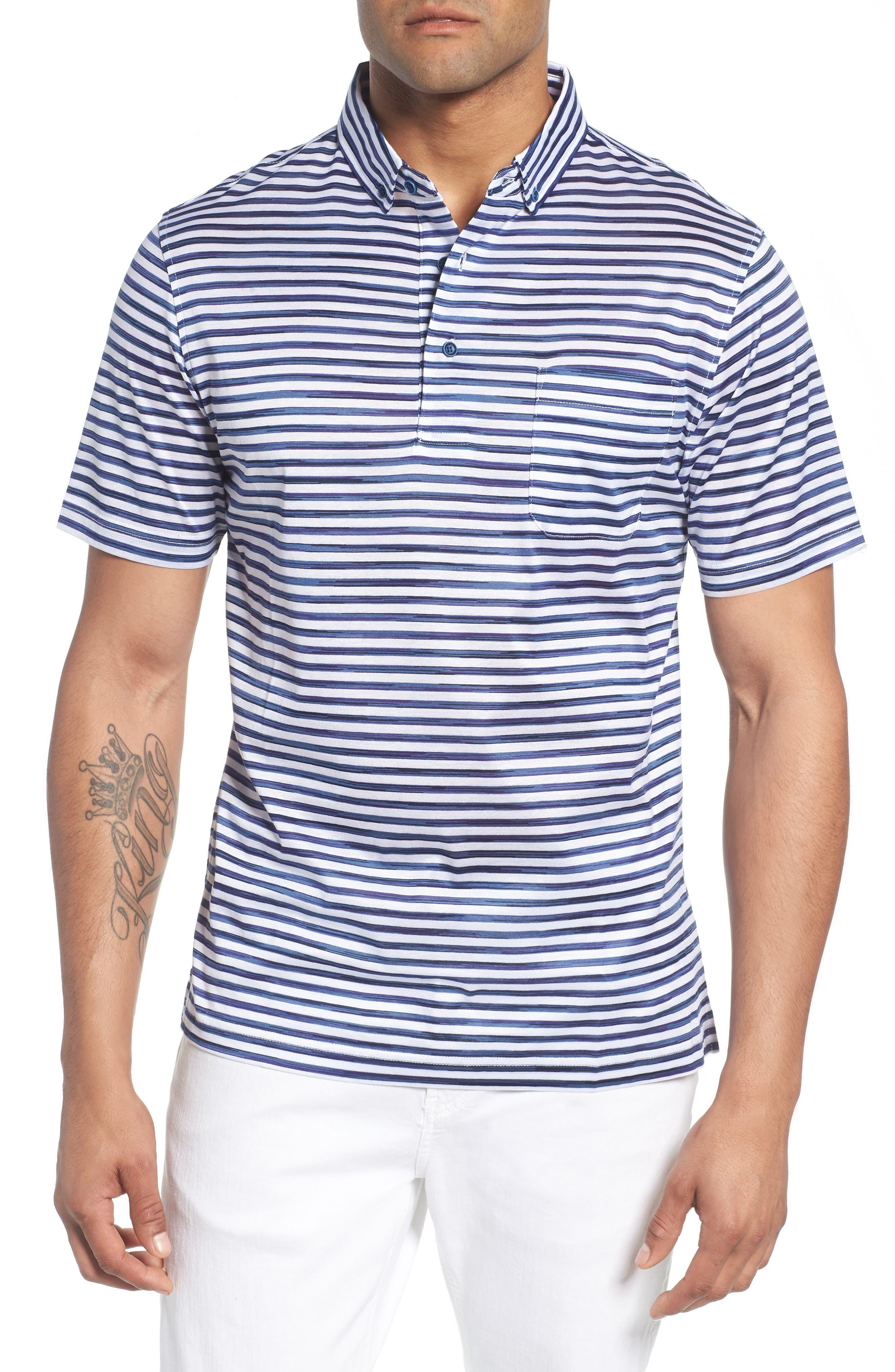 Stripe Knit Polo,                         Main,                         color, WHITE