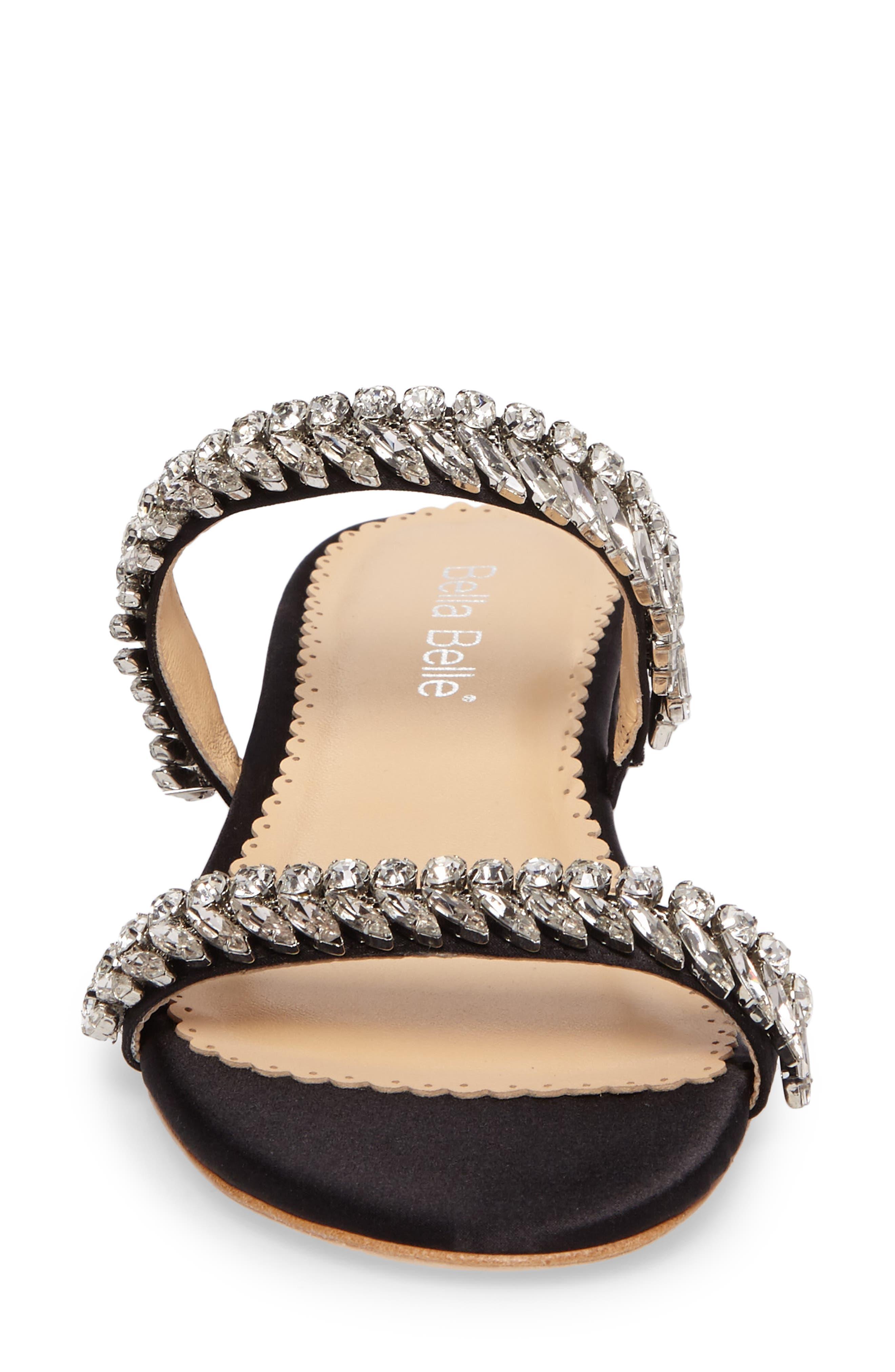 Bree Jeweled Evening Sandal,                             Alternate thumbnail 4, color,                             BLACK