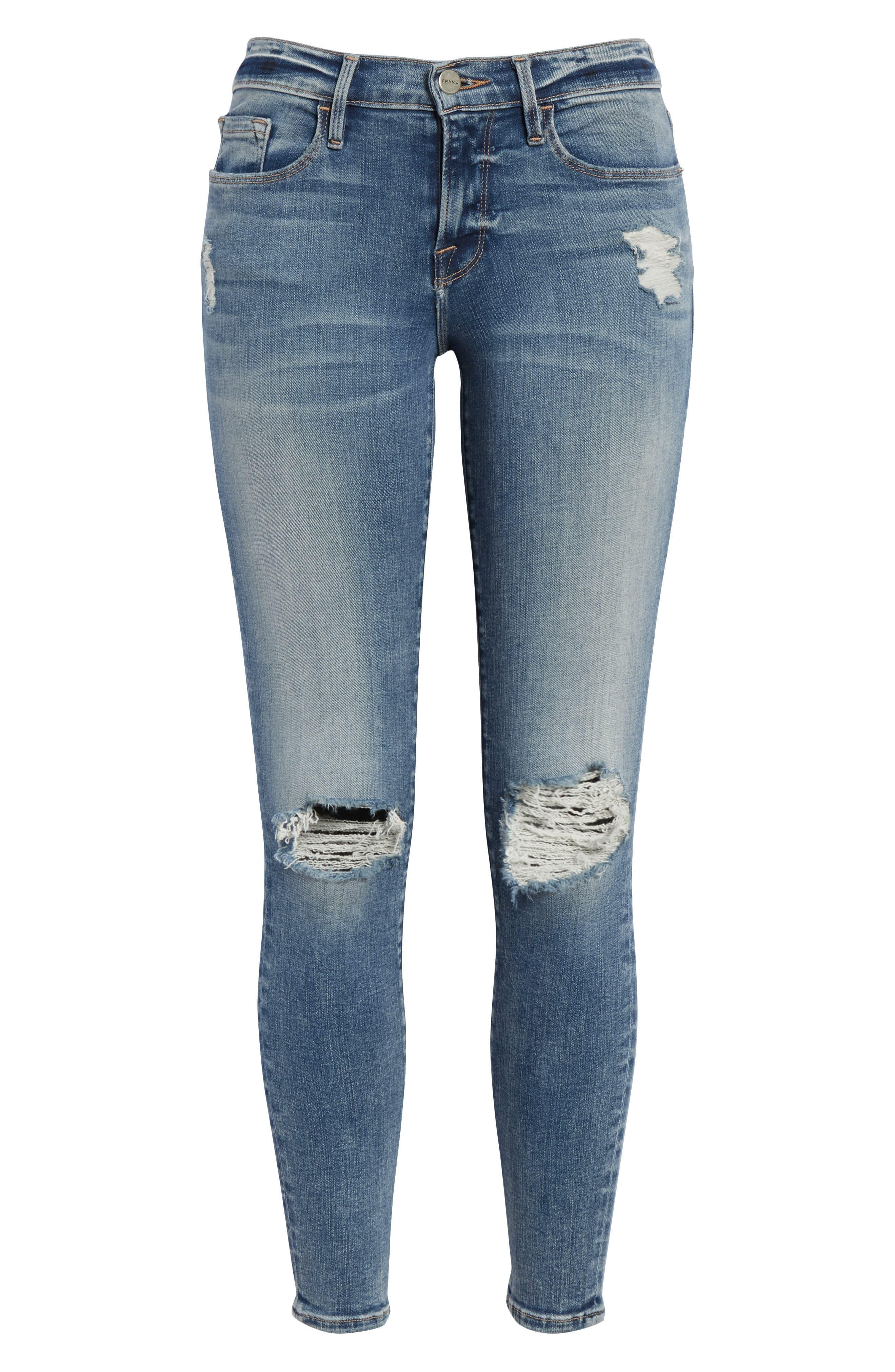 Le Skinny de Jeanne Crop Jeans,                             Alternate thumbnail 6, color,                             STOKES