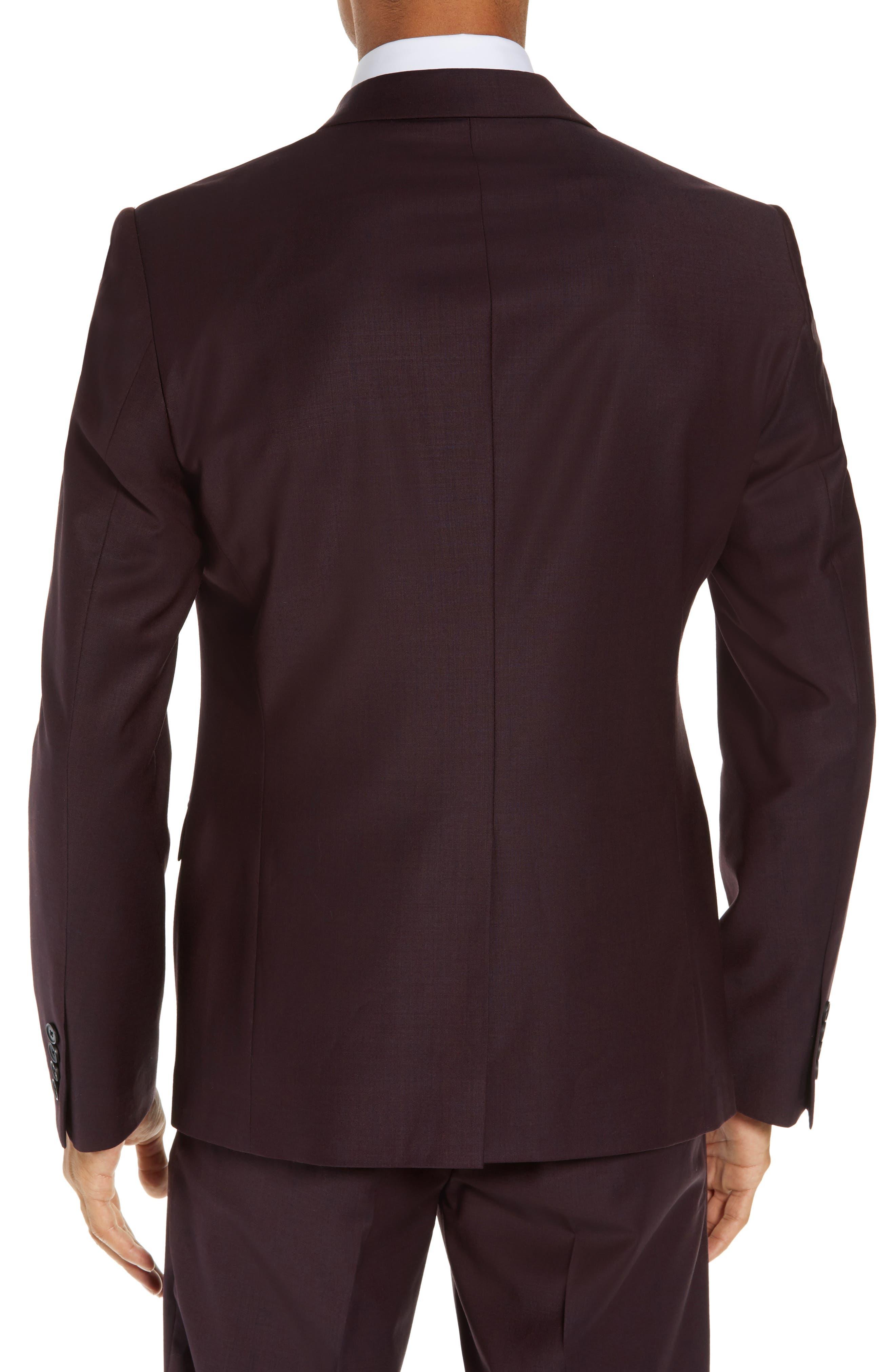 Extra Trim Fit Suit Jacket,                             Alternate thumbnail 2, color,                             BURGUNDY