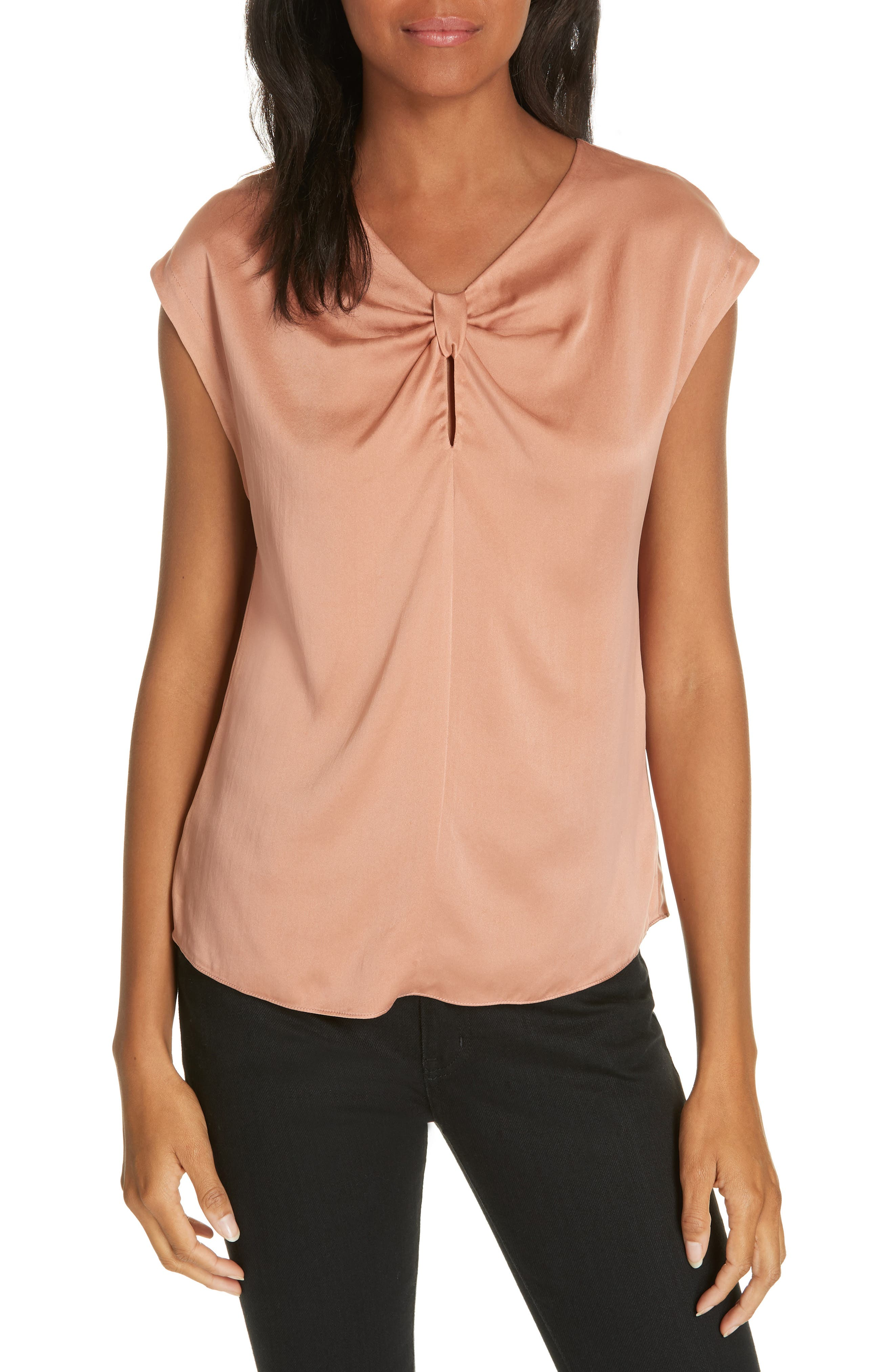 Charmeuse Knot Silk Top,                             Main thumbnail 1, color,                             COPPER