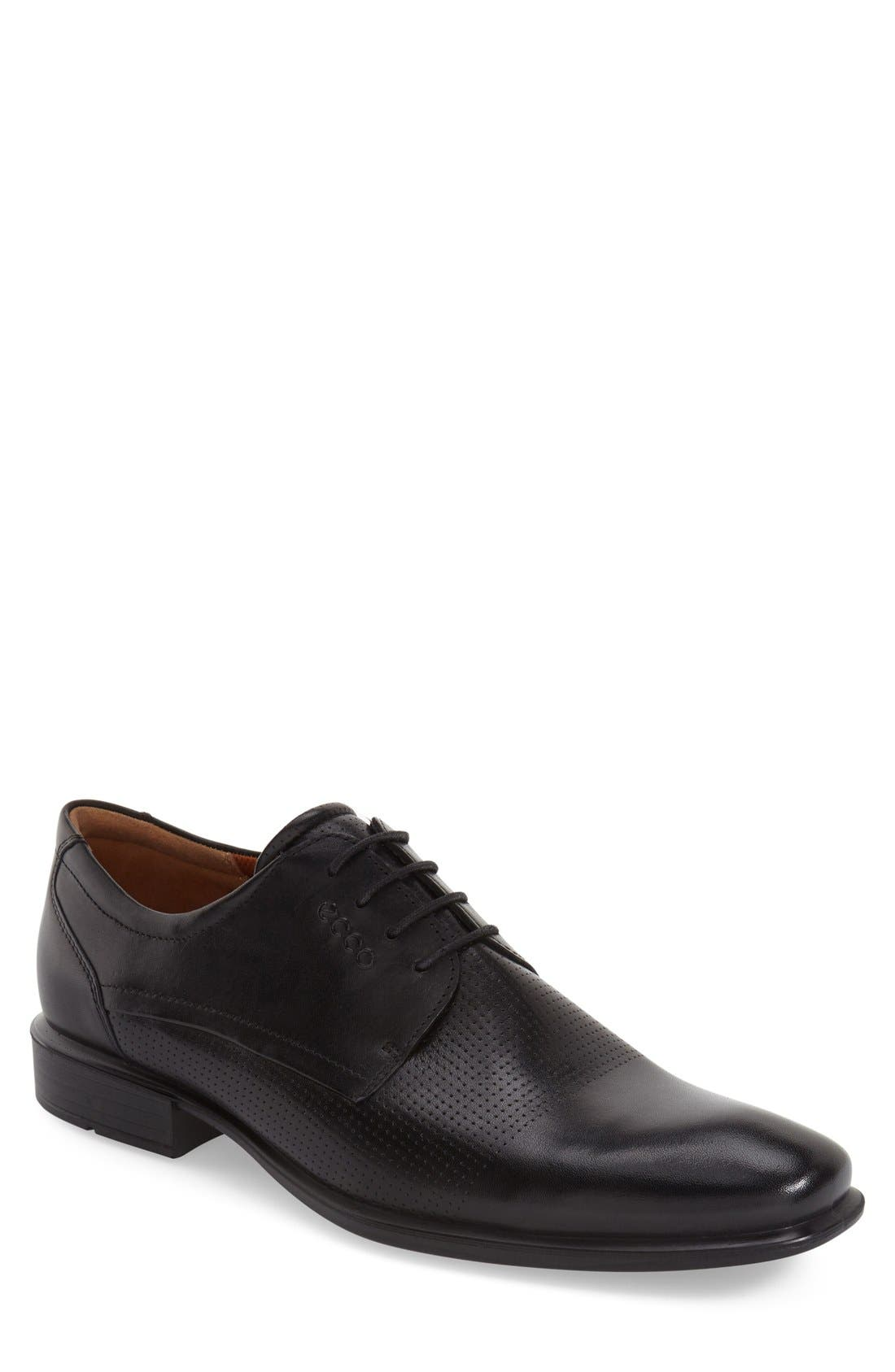 'Cairo' Perforated Plain Toe Derby,                         Main,                         color, 001