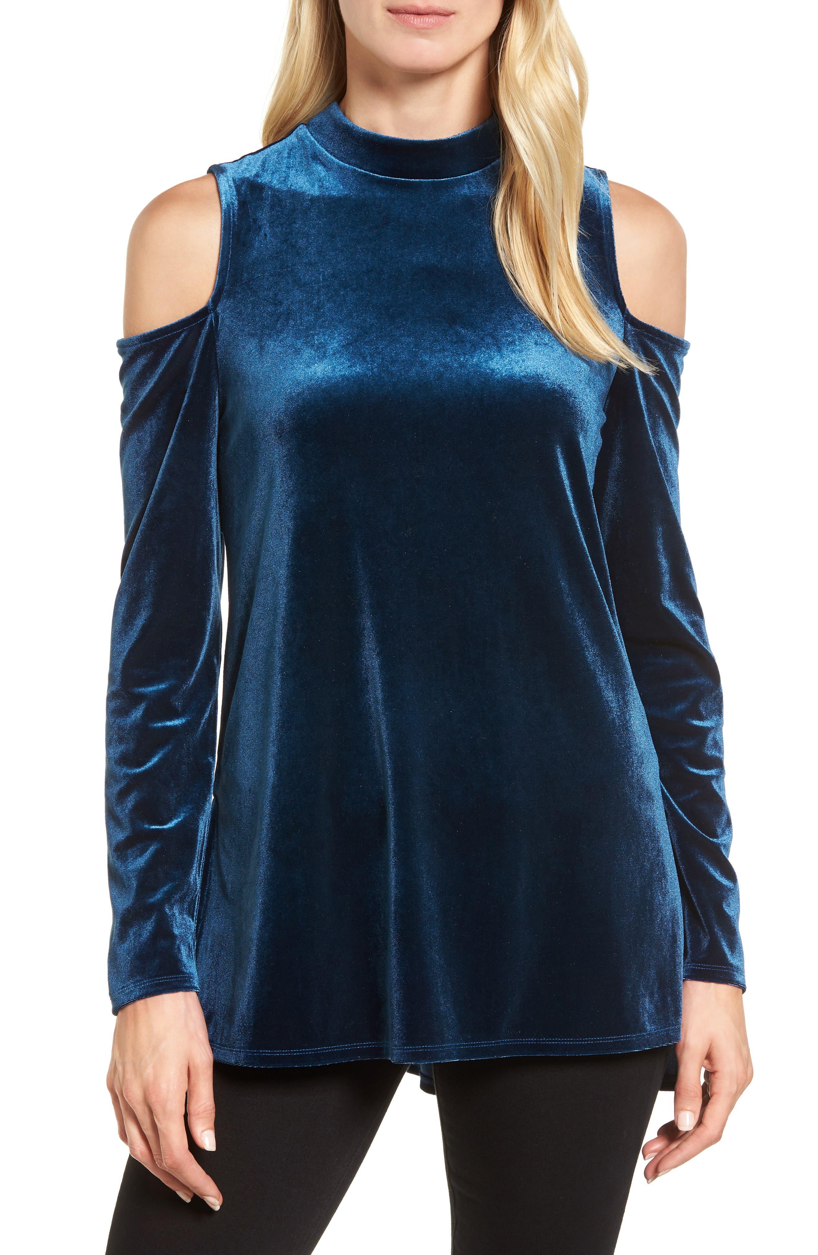 Velvet Cold Shoulder Top,                         Main,                         color, 440