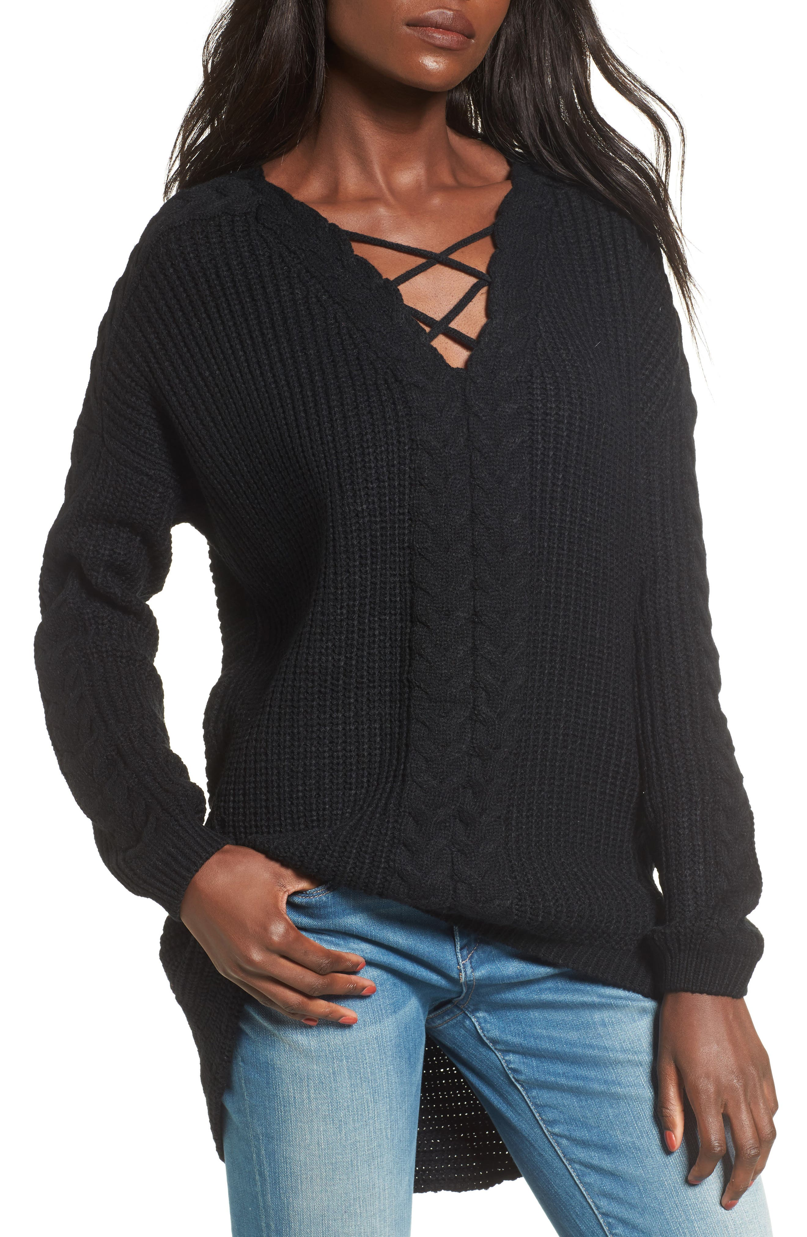 Cross Front Braided Sweater,                         Main,                         color, 001