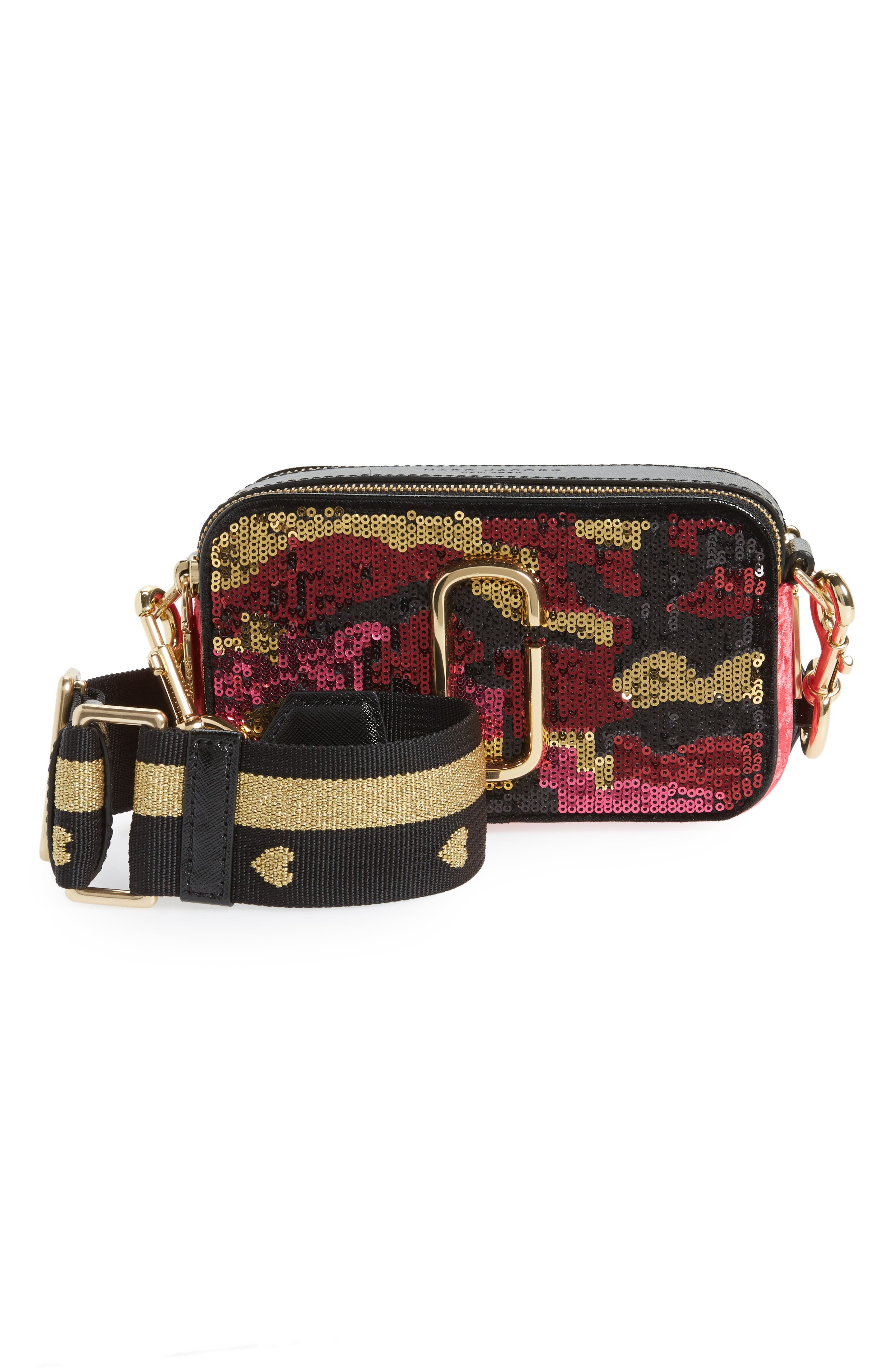 Snapshot Camo Sequin Embellished Crossbody Bag,                             Main thumbnail 1, color,                             PINK MULTI