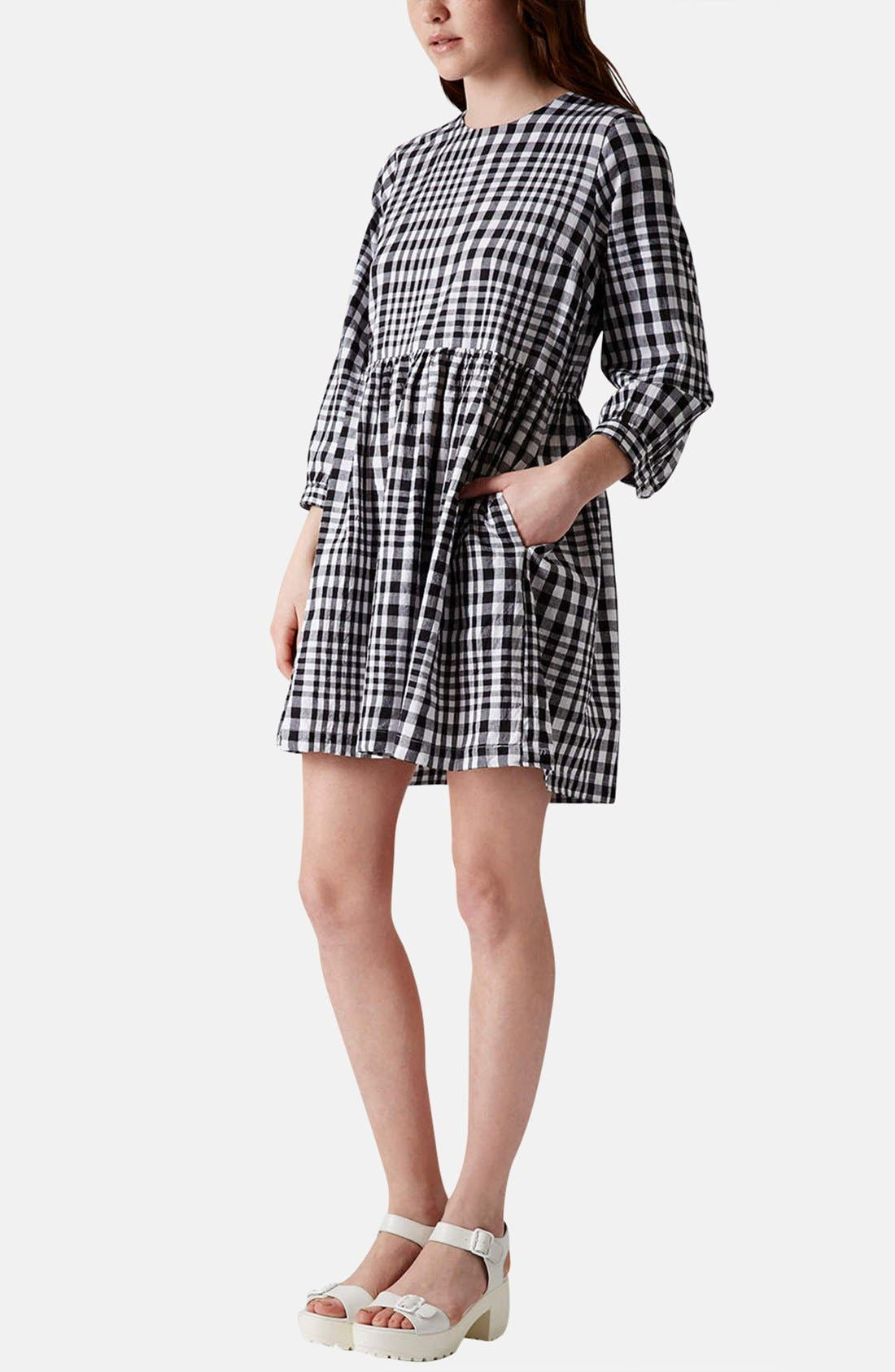 Gingham Cotton Smock Dress,                             Alternate thumbnail 3, color,                             002
