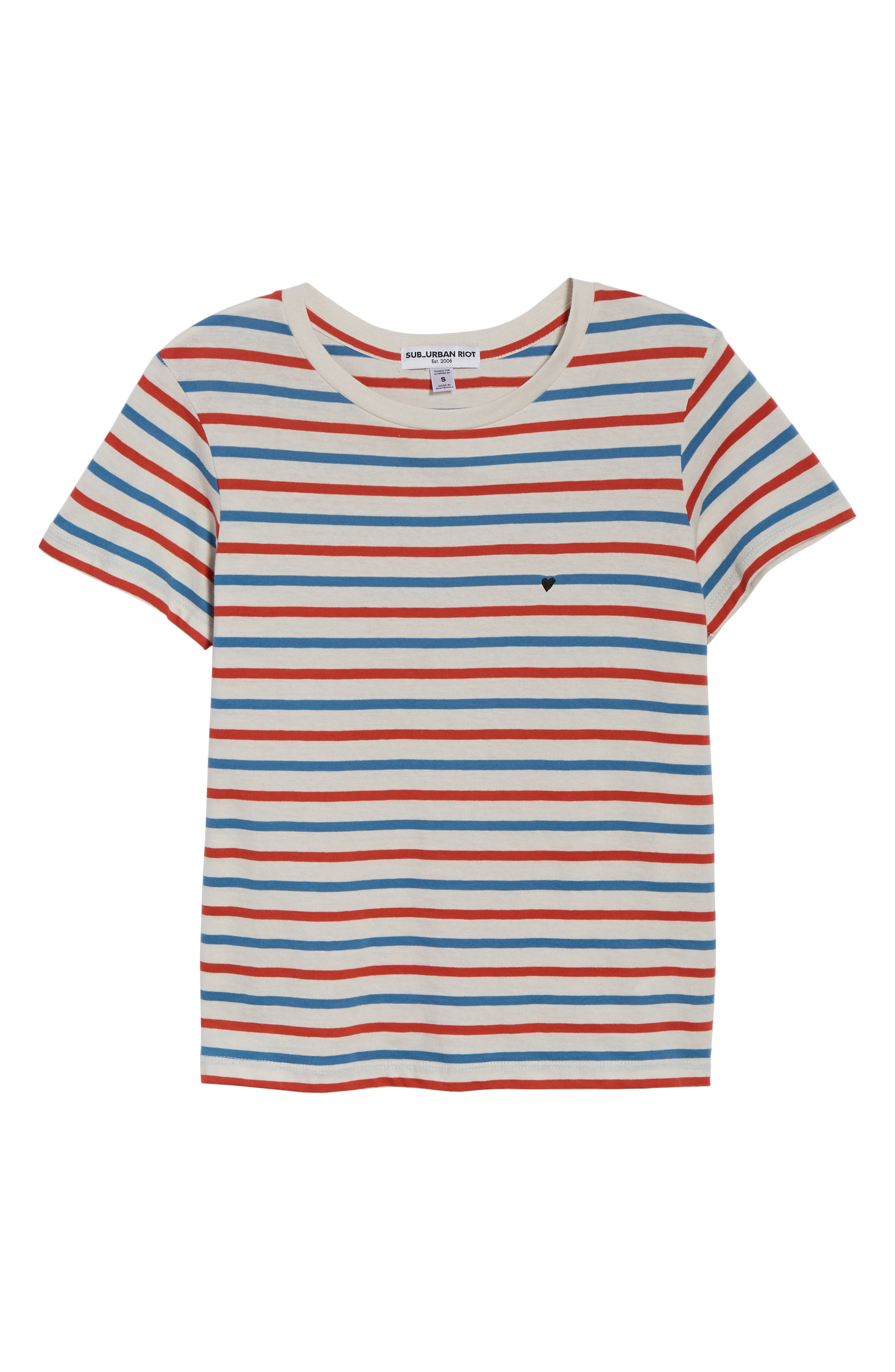Vanessa Heart Embroidered Vincent Stripe Tee,                             Alternate thumbnail 6, color,                             CHERRY/ WINDSOR/ WHITE