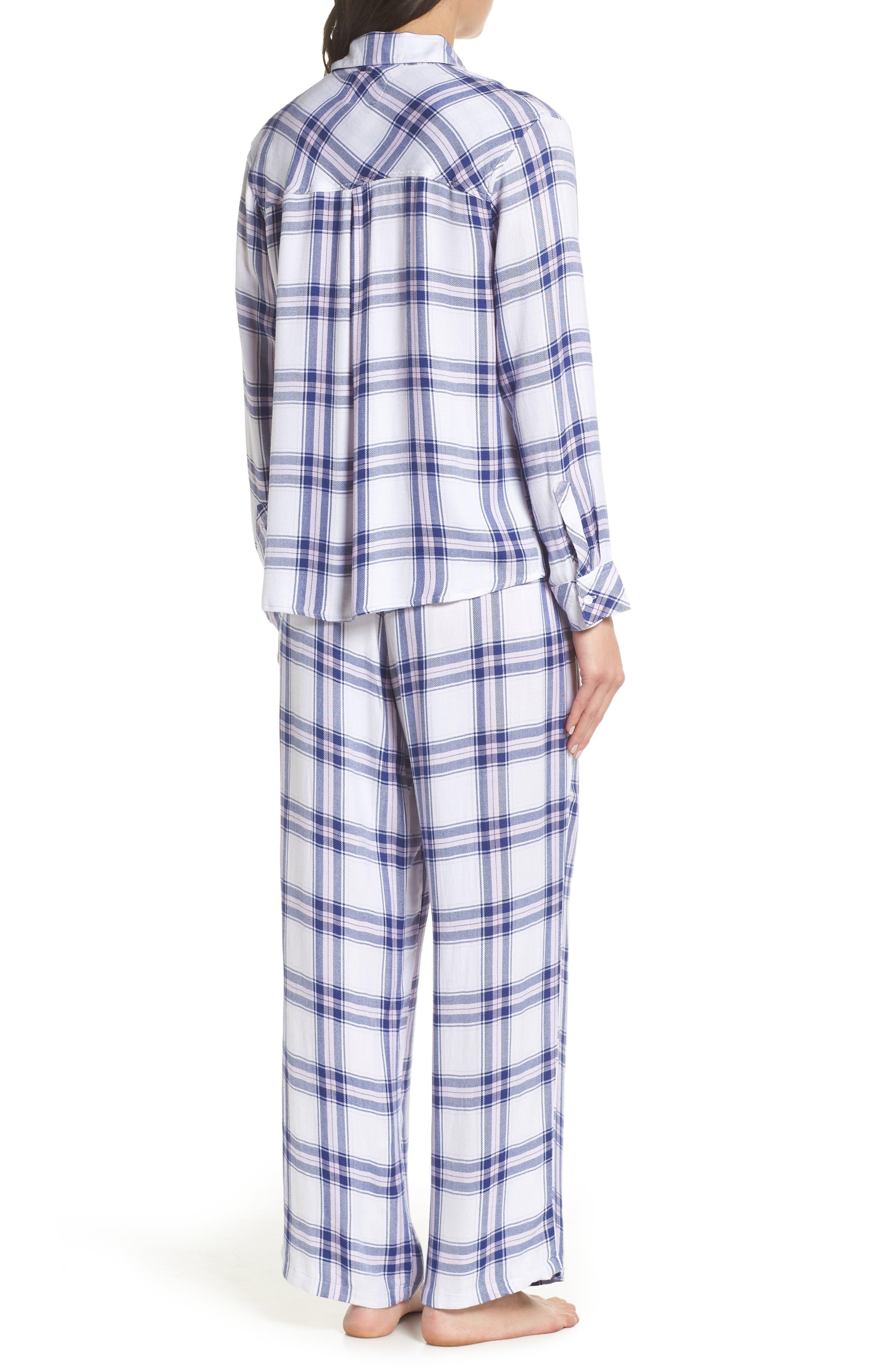 Plaid Pajamas,                             Alternate thumbnail 2, color,                             WHITE SAPPHIRE LILAC
