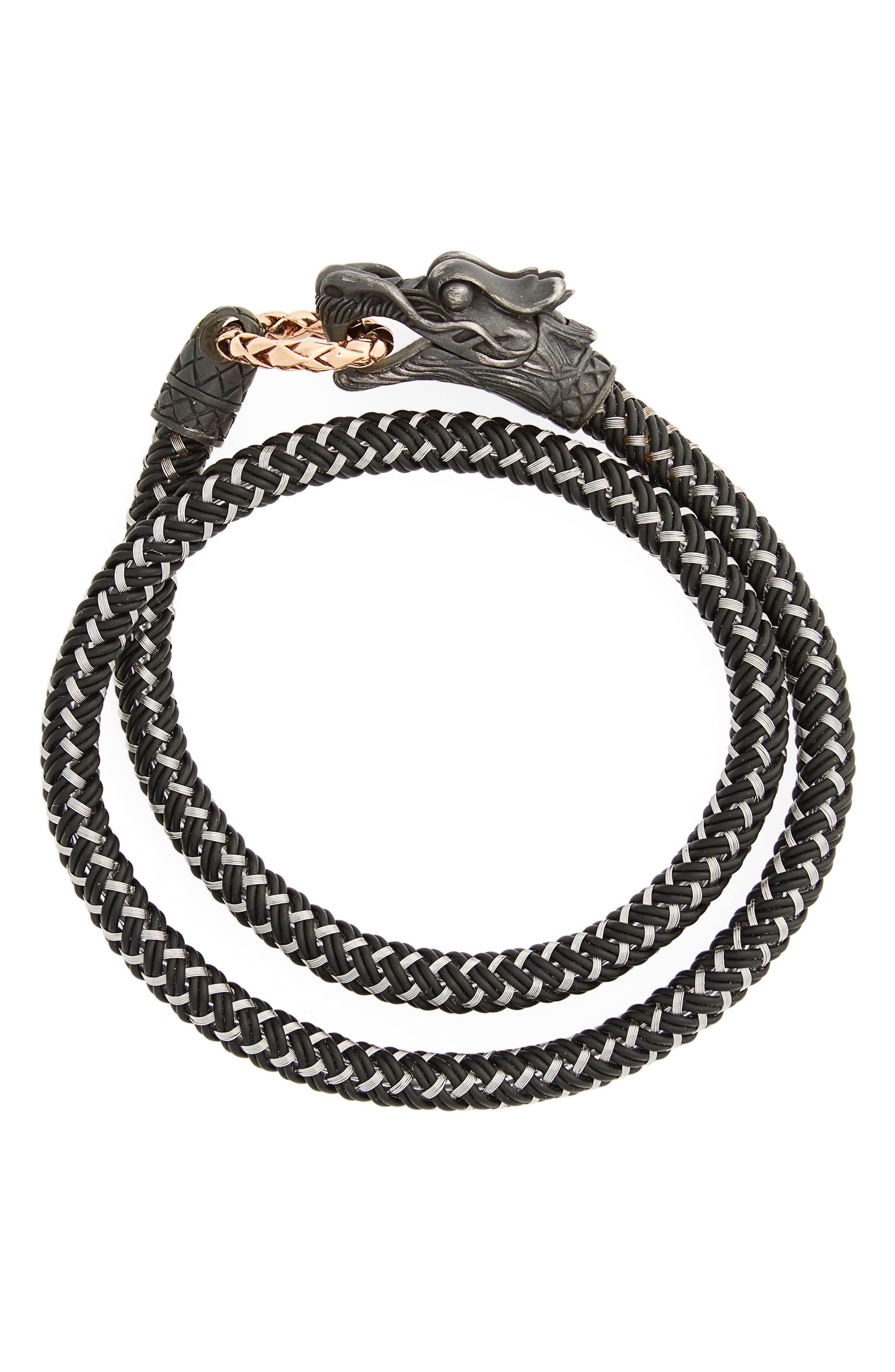 Legends Naga Wrap Bracelet,                             Main thumbnail 1, color,                             SILVER/ BRONZE