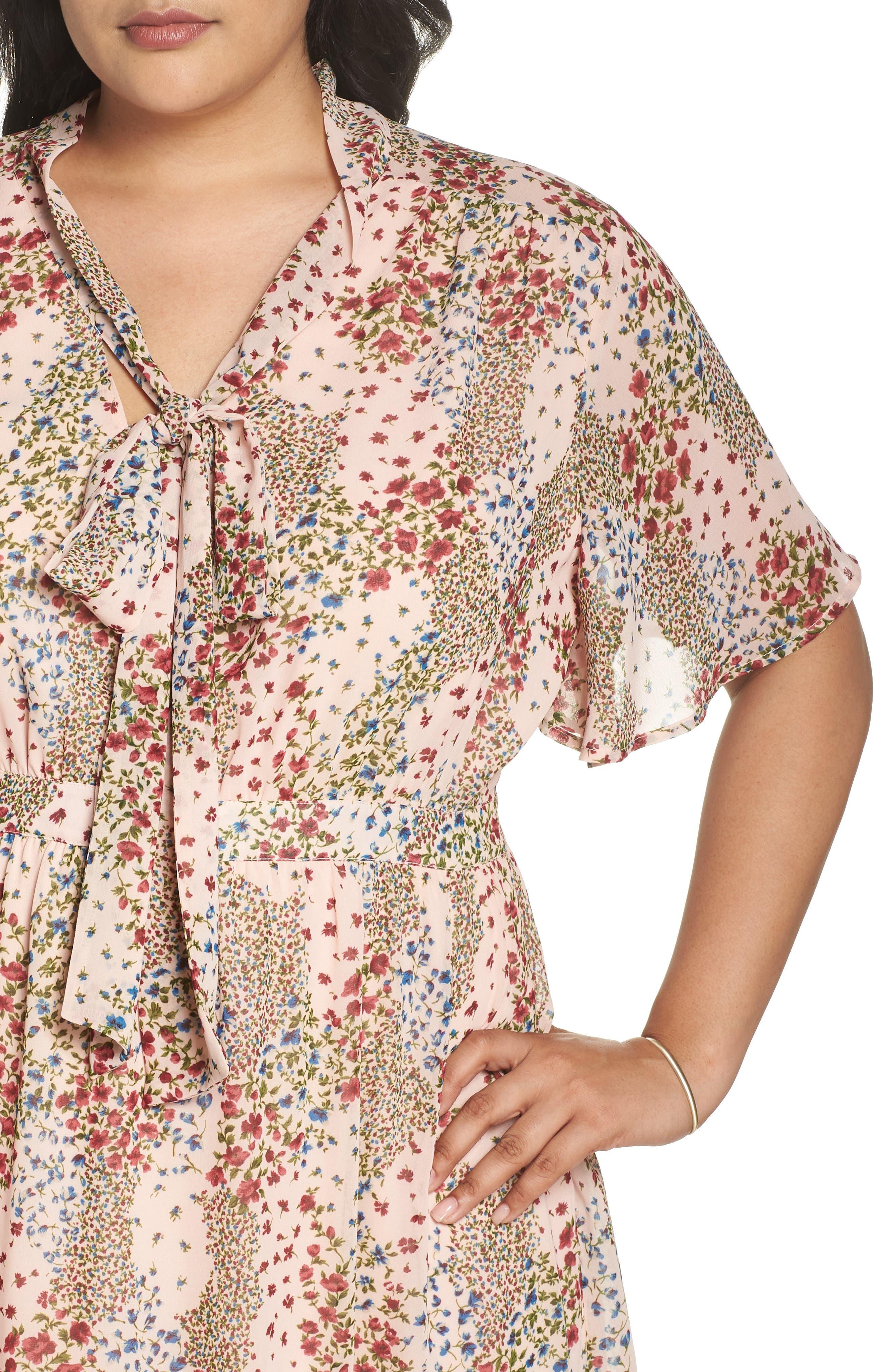 Tie Neck Floral Dress,                             Alternate thumbnail 4, color,                             958