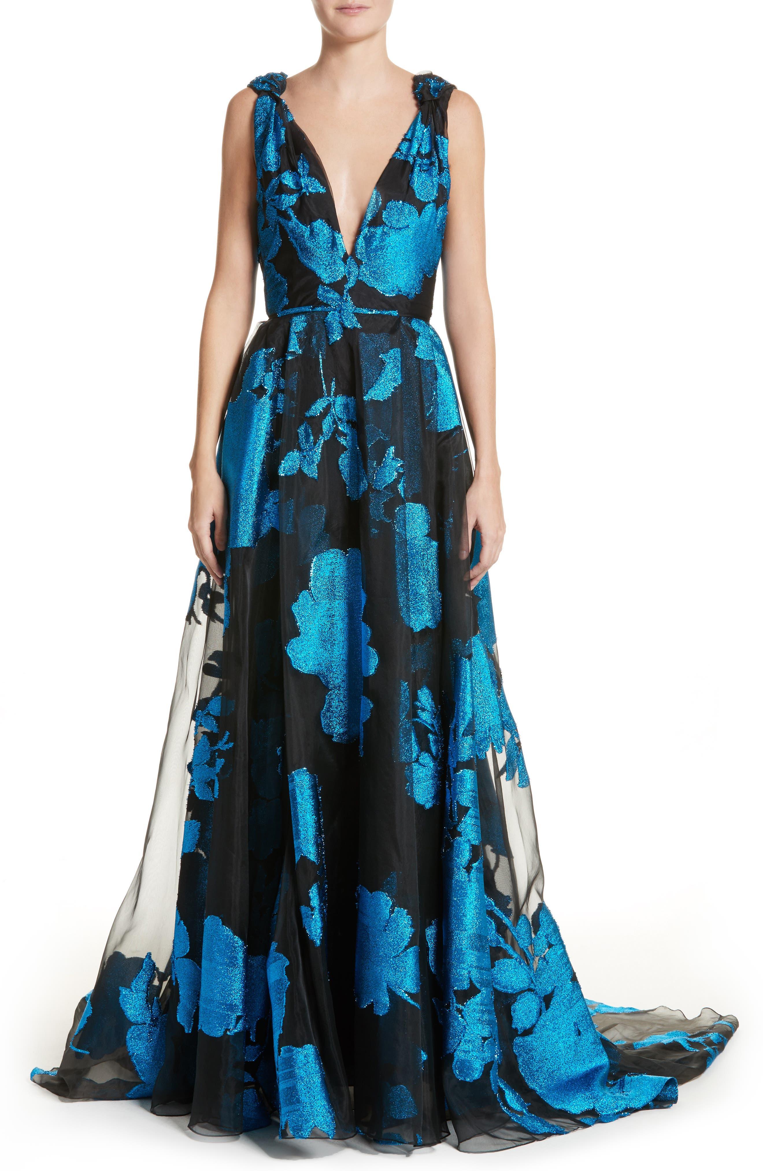 Metallic Floral Chiffon Gown,                             Main thumbnail 1, color,                             001