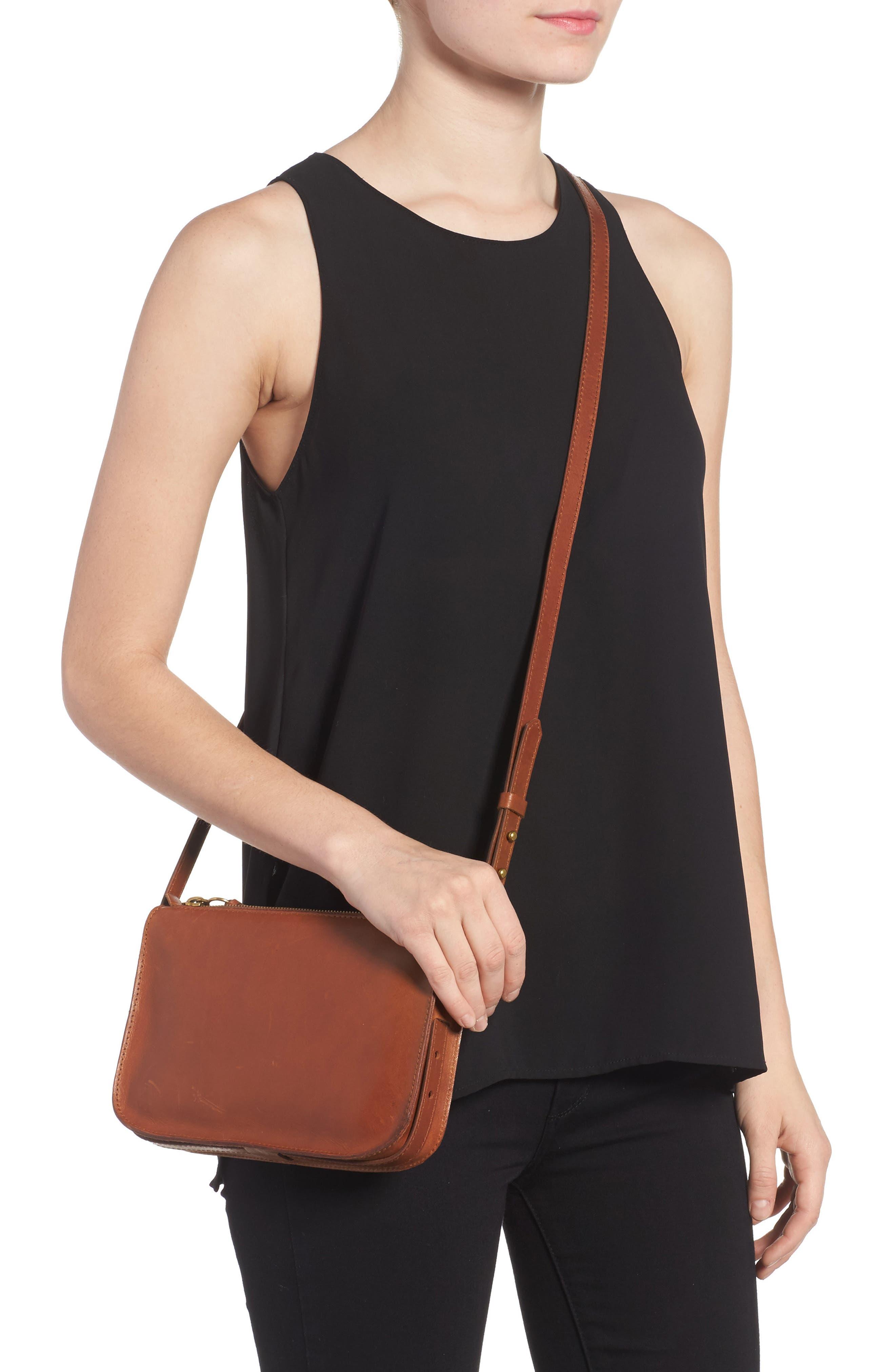 The Simple Leather Crossbody Bag,                             Alternate thumbnail 2, color,                             ENGLISH SADDLE