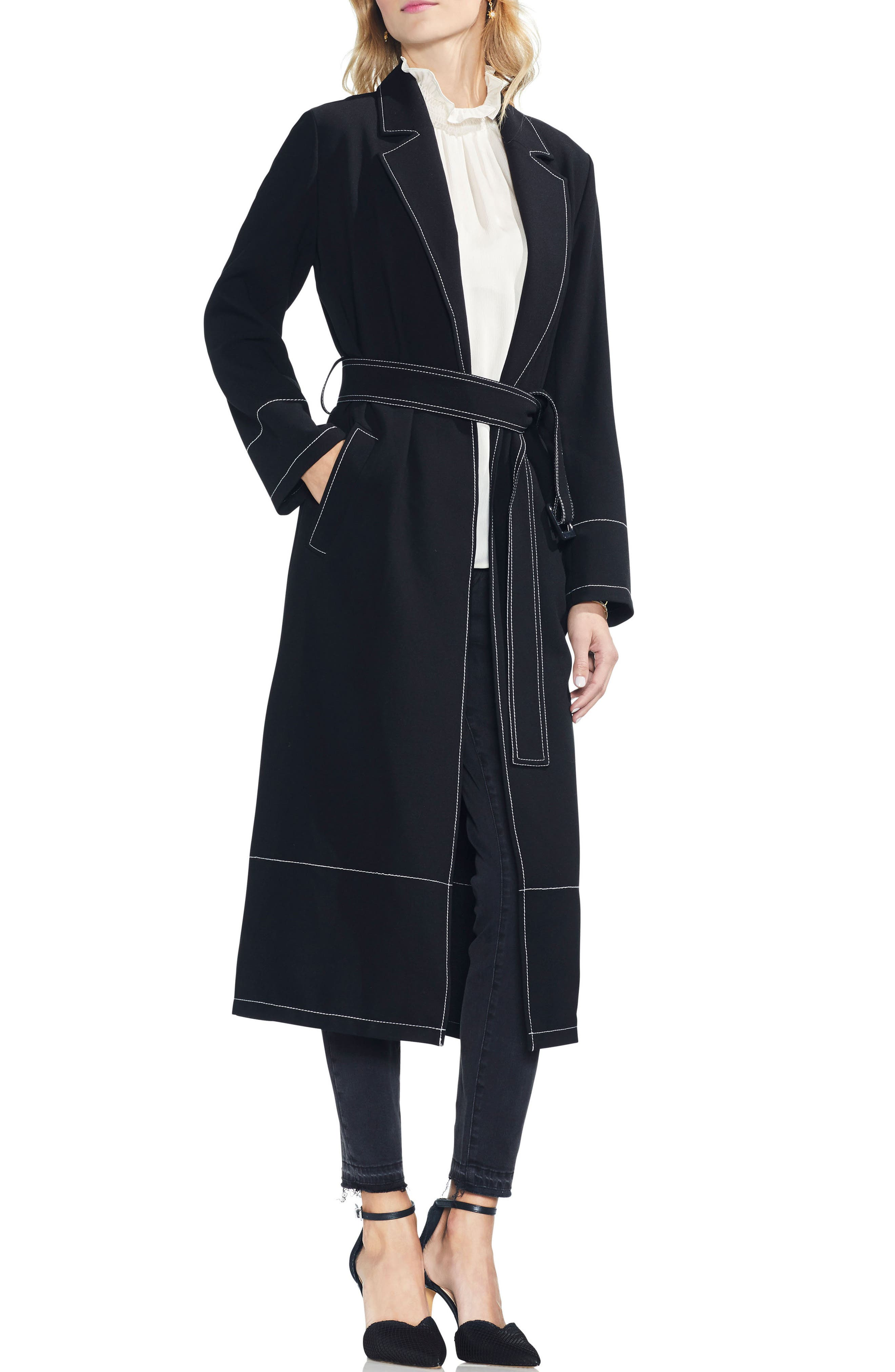 Stetch Crepe Petite Trench Coat $199