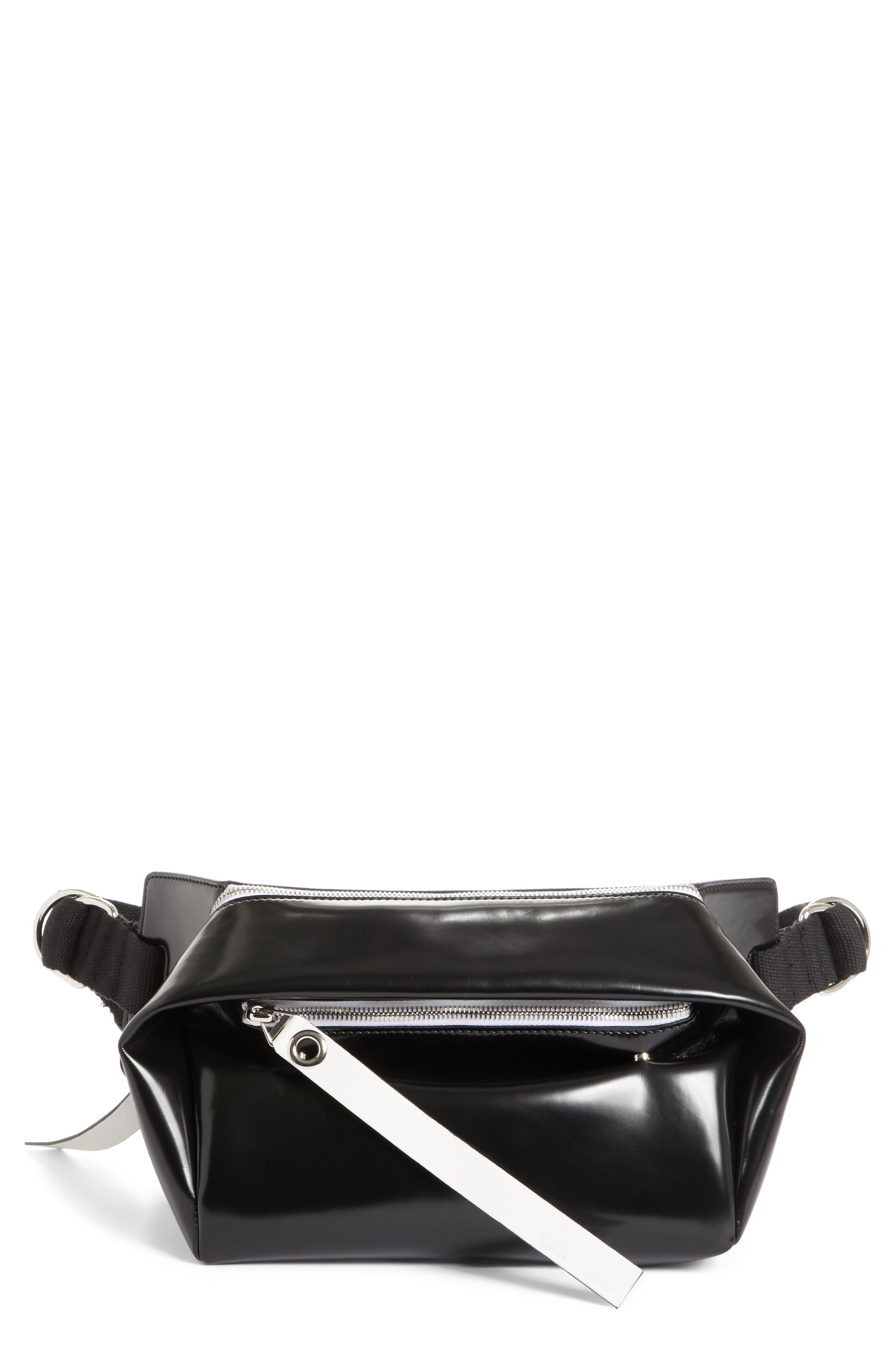 PSWL Faux Leather Fanny Pack,                         Main,                         color, BLACK