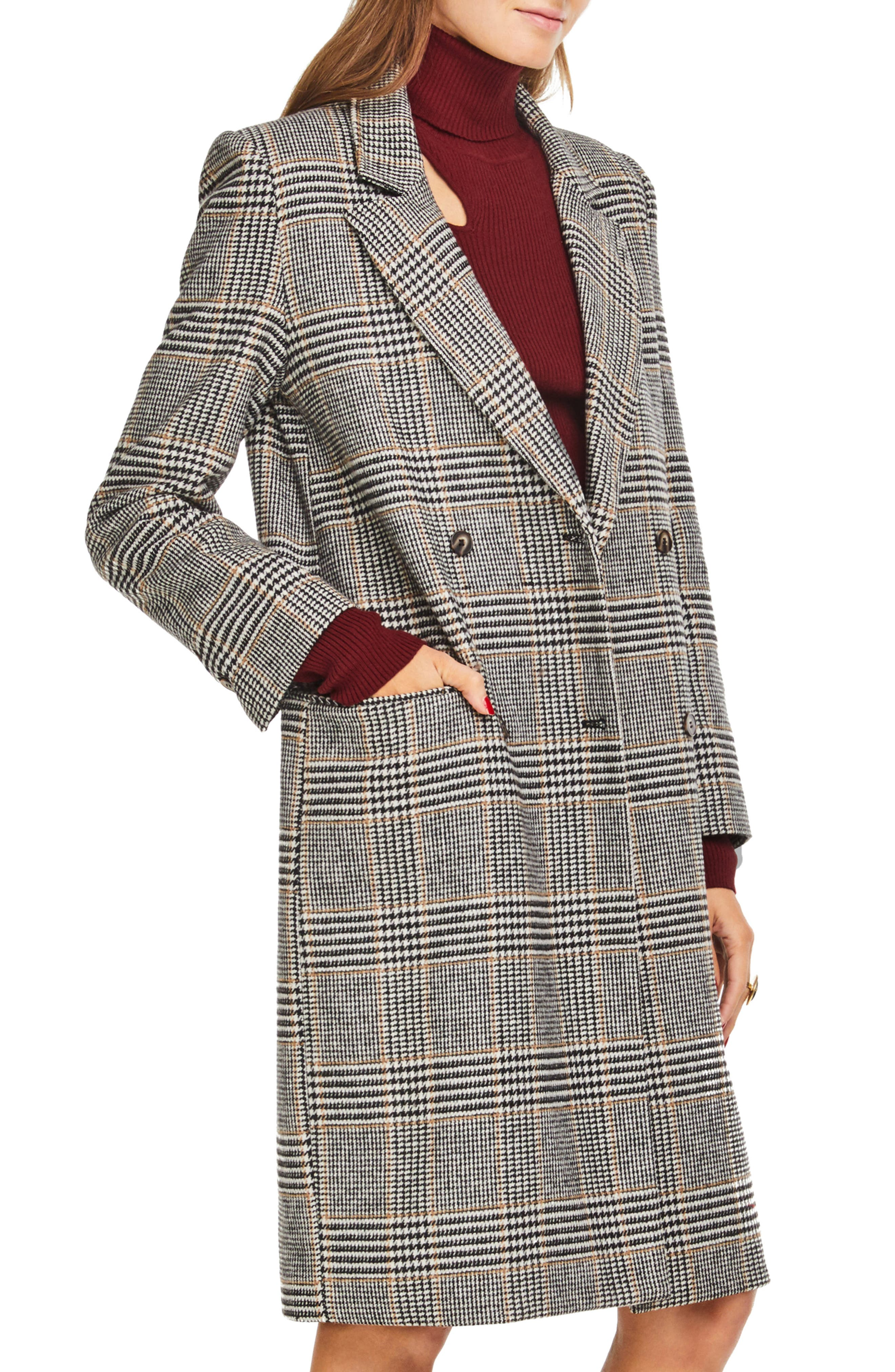 Kensington Plaid Long Coat,                             Alternate thumbnail 3, color,                             BLACK/ MUSTARD PLAID