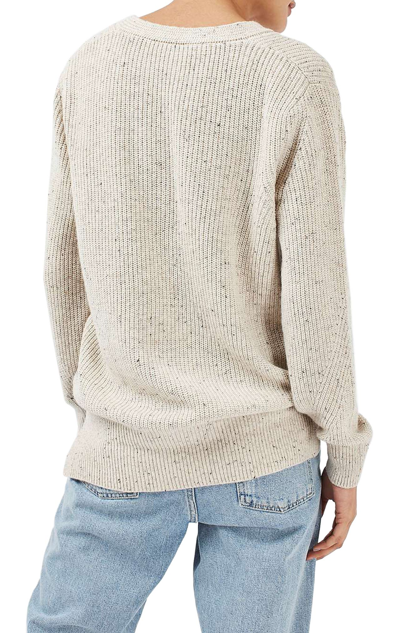 Ribbed V-Neck Sweater,                             Alternate thumbnail 3, color,                             101