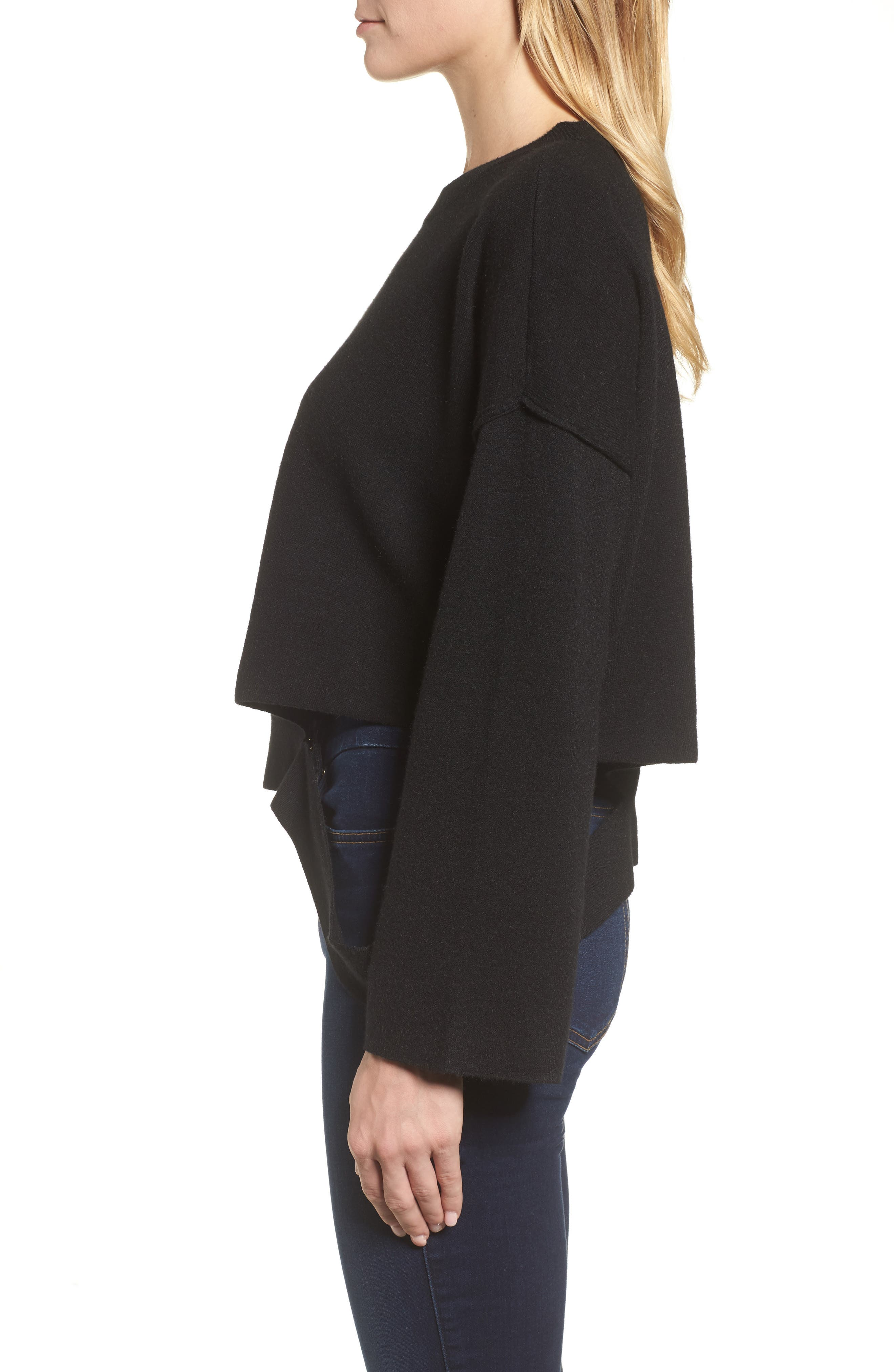 Bottom Cutout Pullover,                             Alternate thumbnail 3, color,                             001