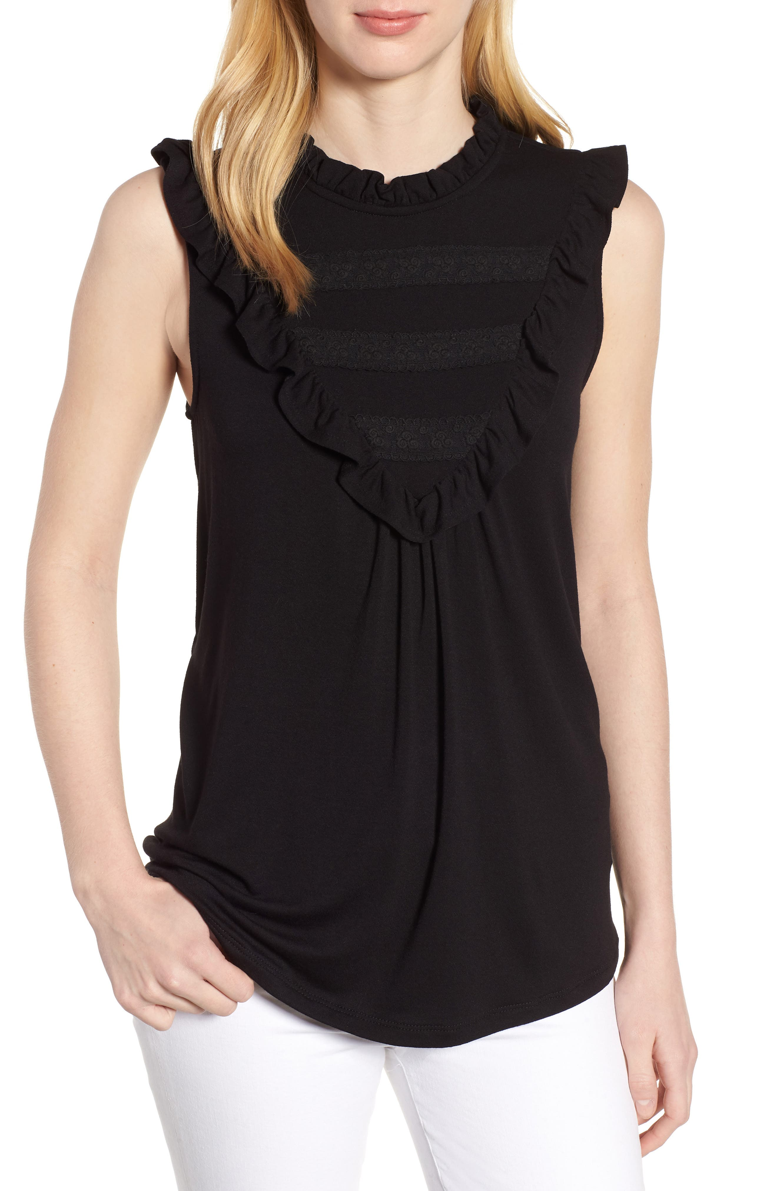 Lace Inset Tank Top,                             Main thumbnail 1, color,                             001