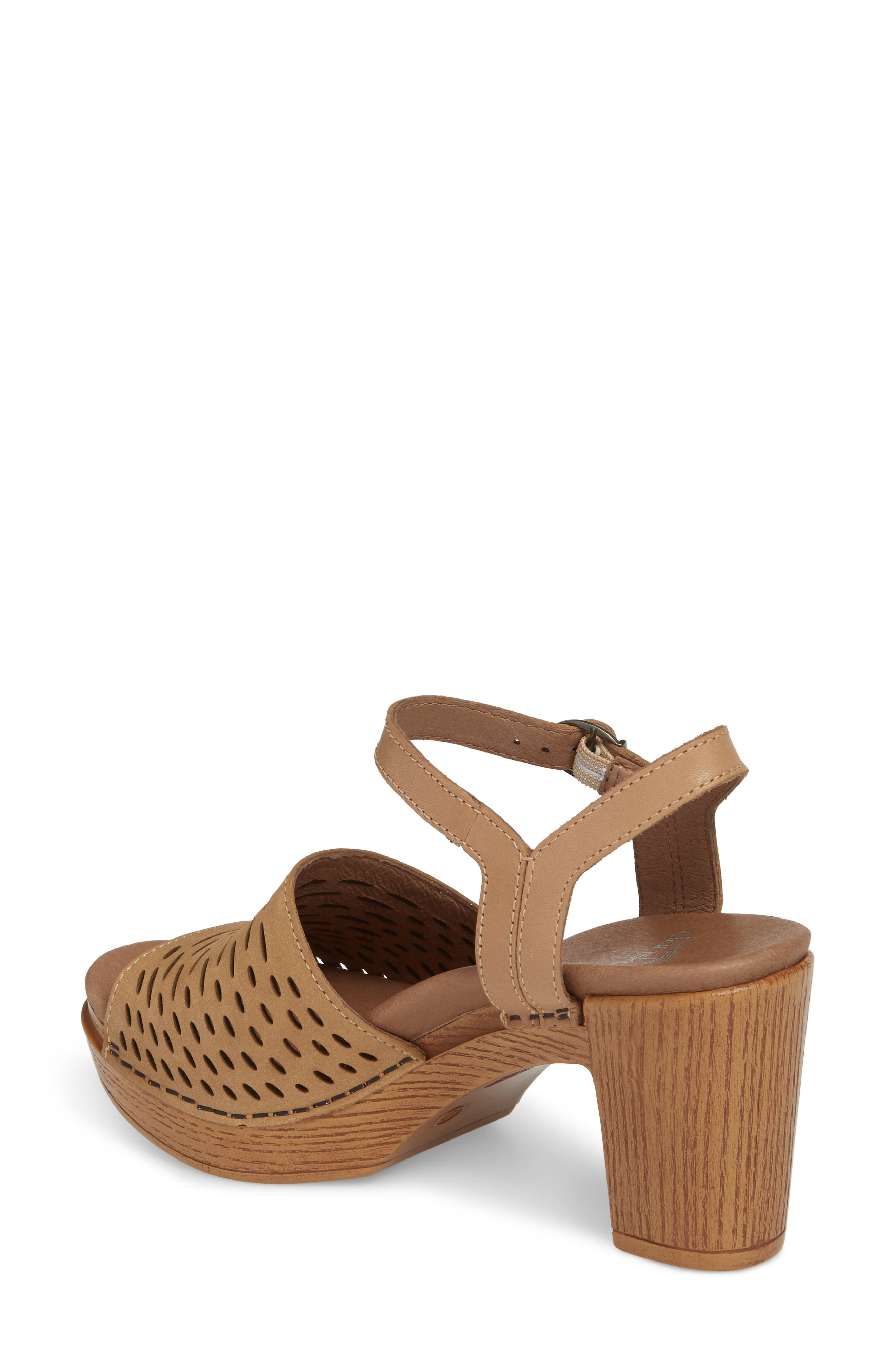 Denita Block Heel Sandal,                             Alternate thumbnail 2, color,                             SAND MILLED NUBUCK