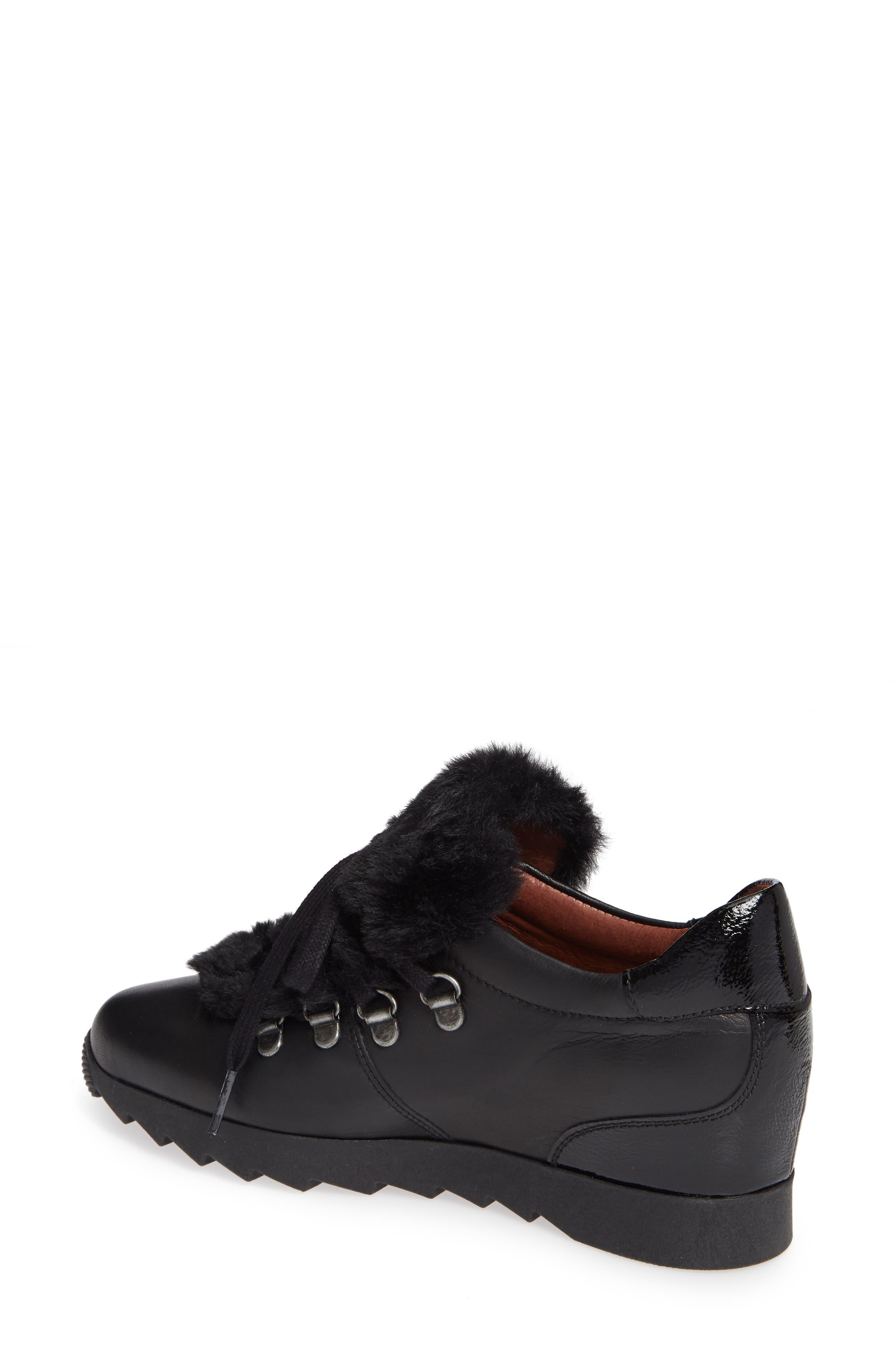 Sadara Wedge Sneaker,                             Alternate thumbnail 2, color,                             SOHO BLACK FAUX FUR