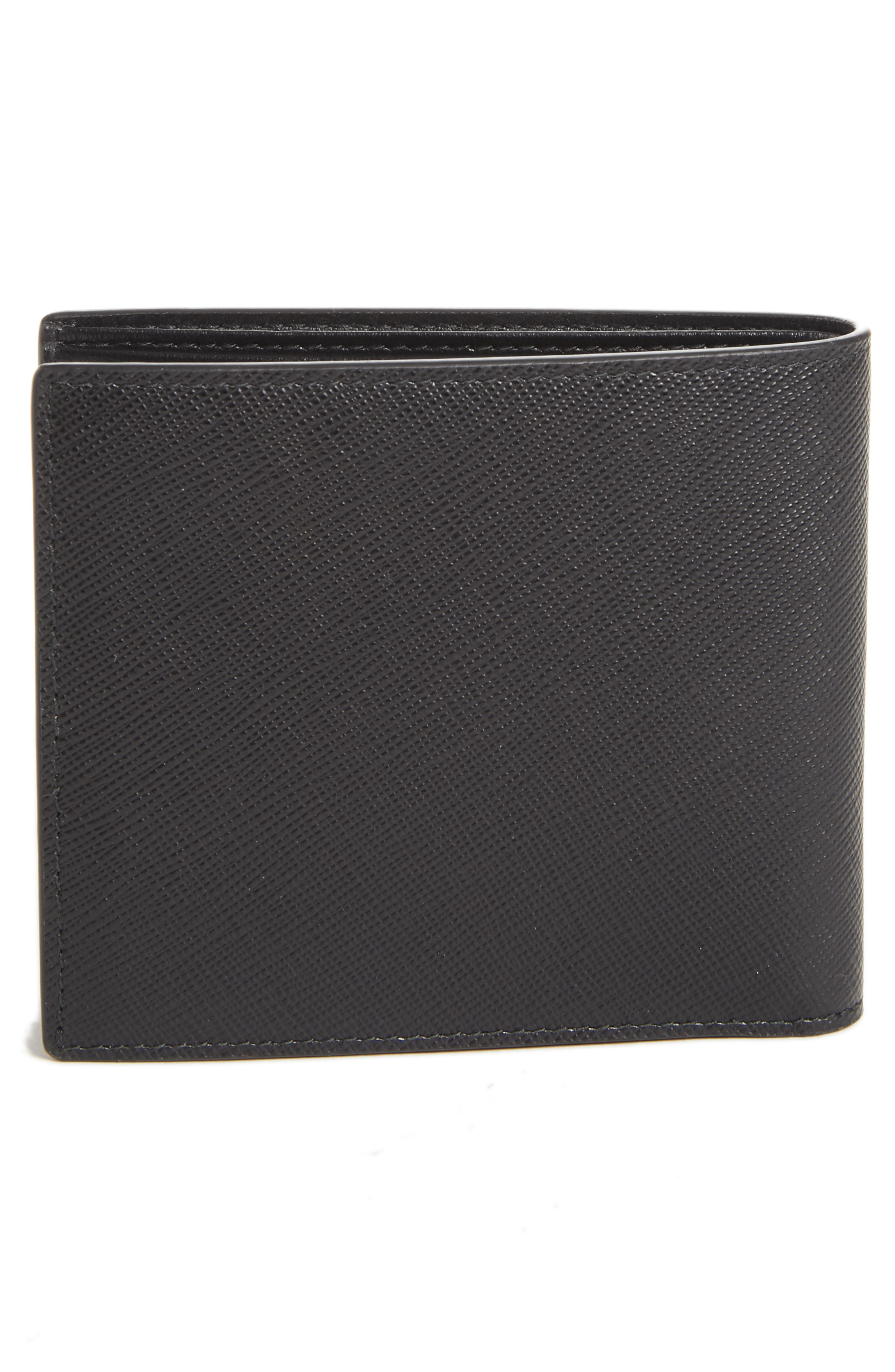 Saffiano Leather Bifold Wallet,                             Alternate thumbnail 3, color,                             BLACK