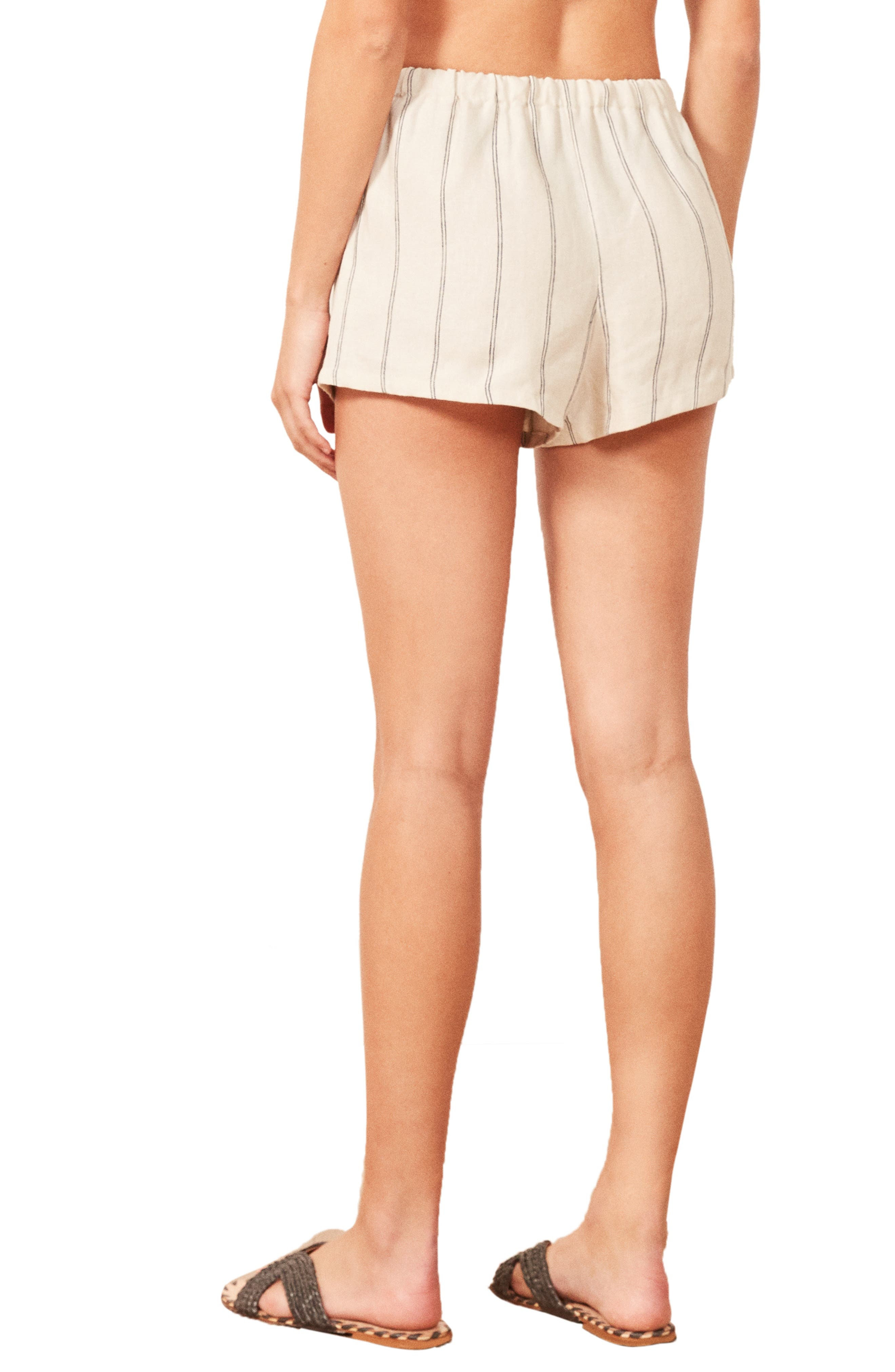 REFORMATION,                             Jamaica Linen Shorts,                             Alternate thumbnail 3, color,                             100