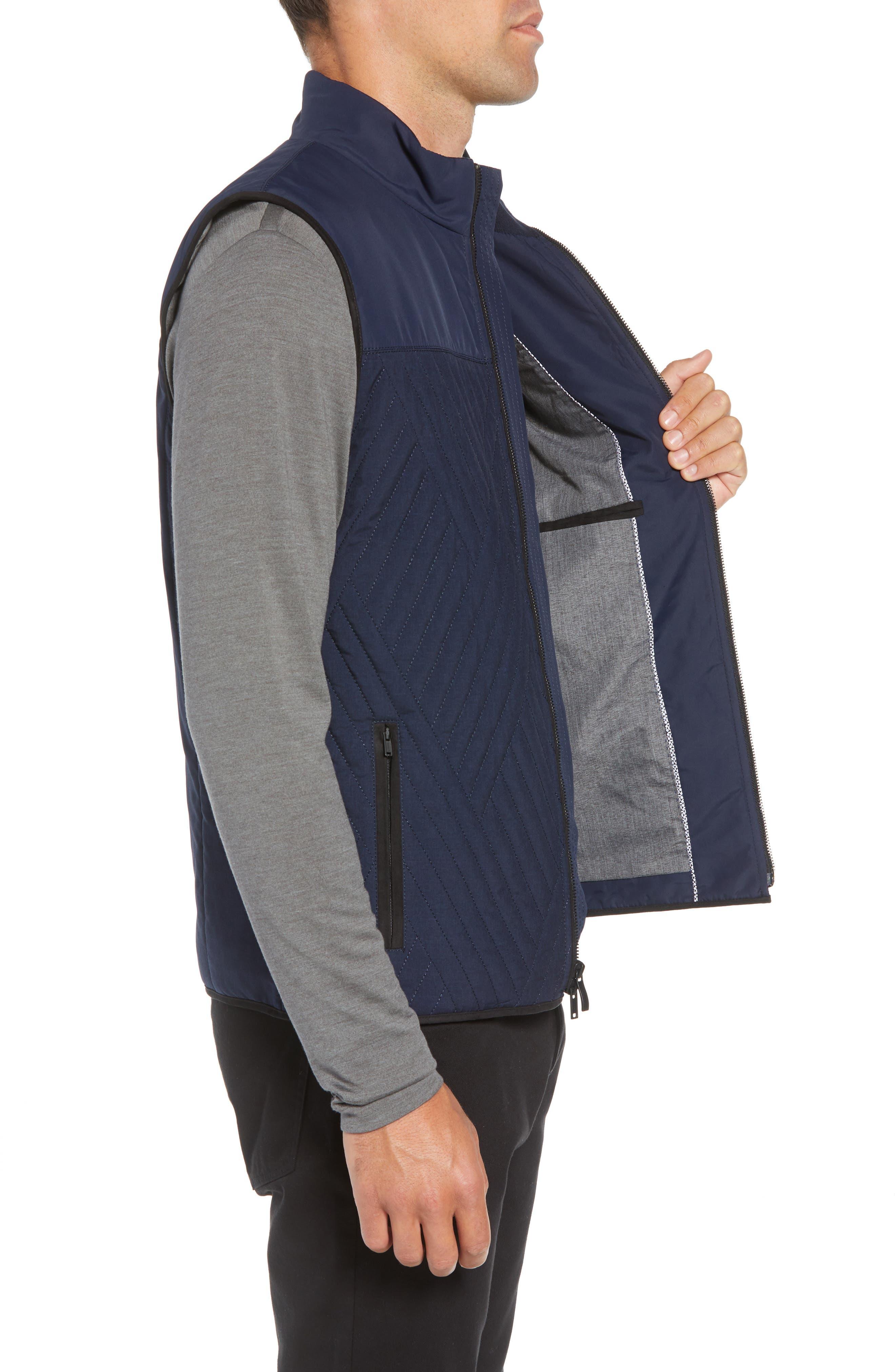 Slim Fit Quilted Vest,                             Alternate thumbnail 3, color,                             NAVY