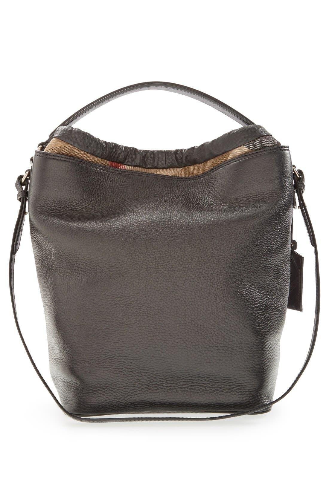 Brit 'Medium Susanna' Leather & Canvas Check Hobo Bag,                             Alternate thumbnail 2, color,                             001