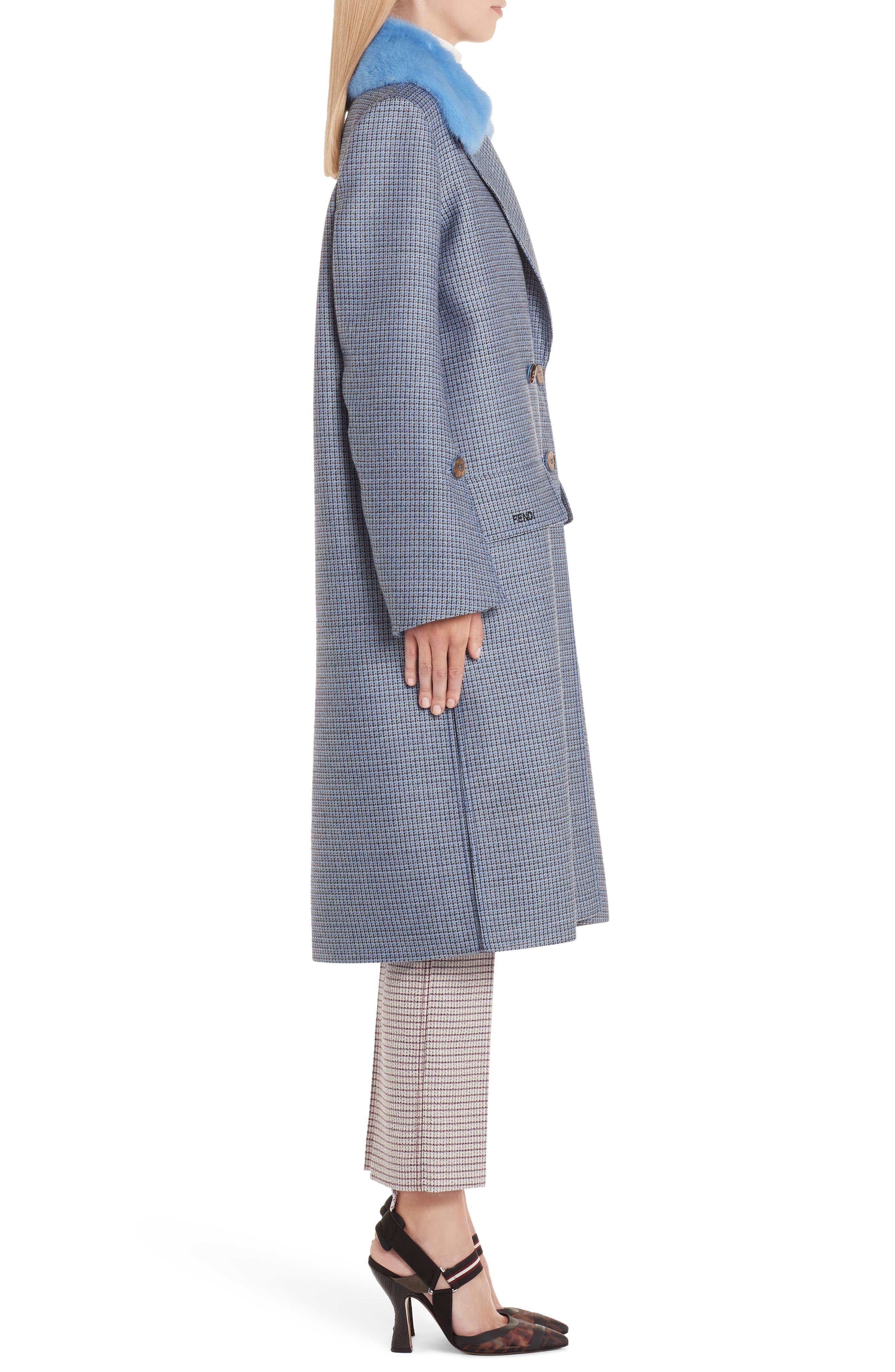 Genuine Mink Fur Collar Wool & Silk Blend Coat,                             Alternate thumbnail 4, color,                             ANTIGUA BLUE