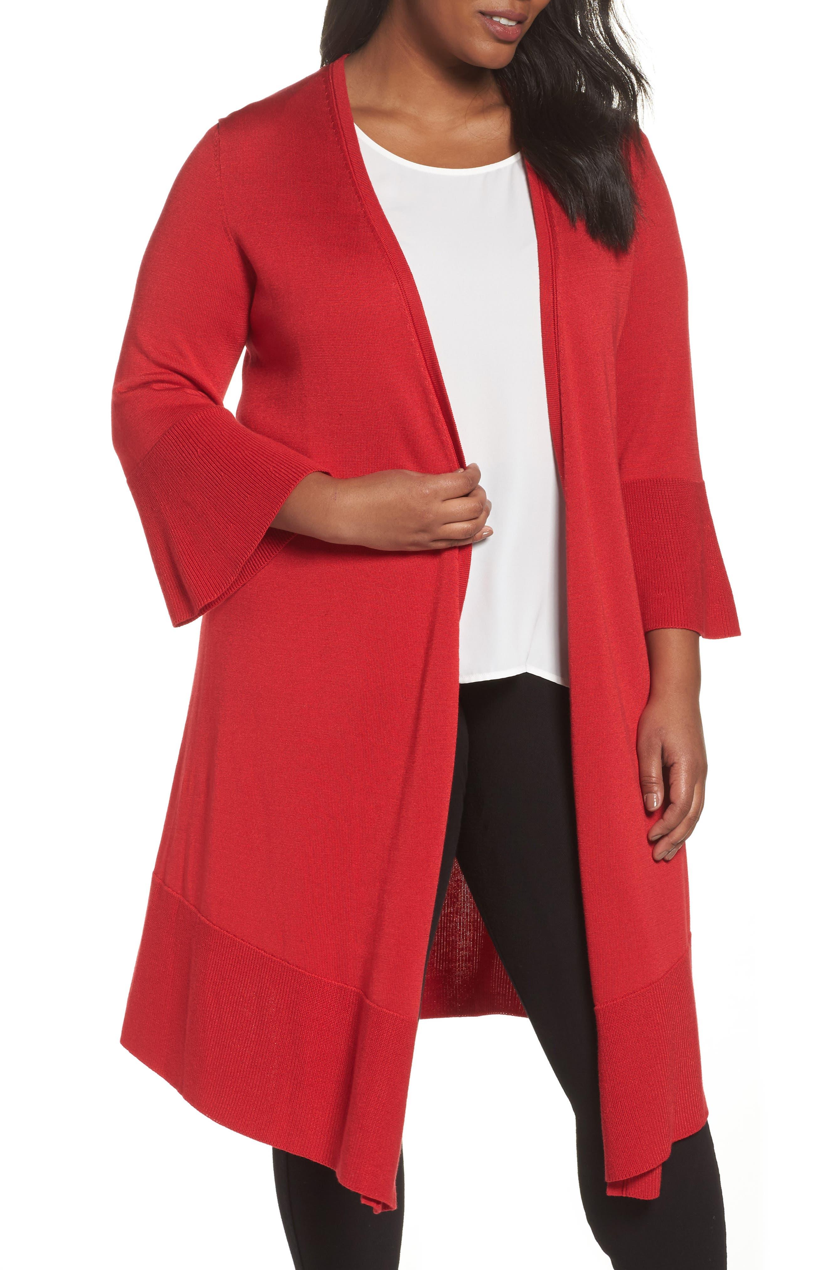 Mila Bell Sleeve Long Cardigan,                         Main,                         color, SCARLET