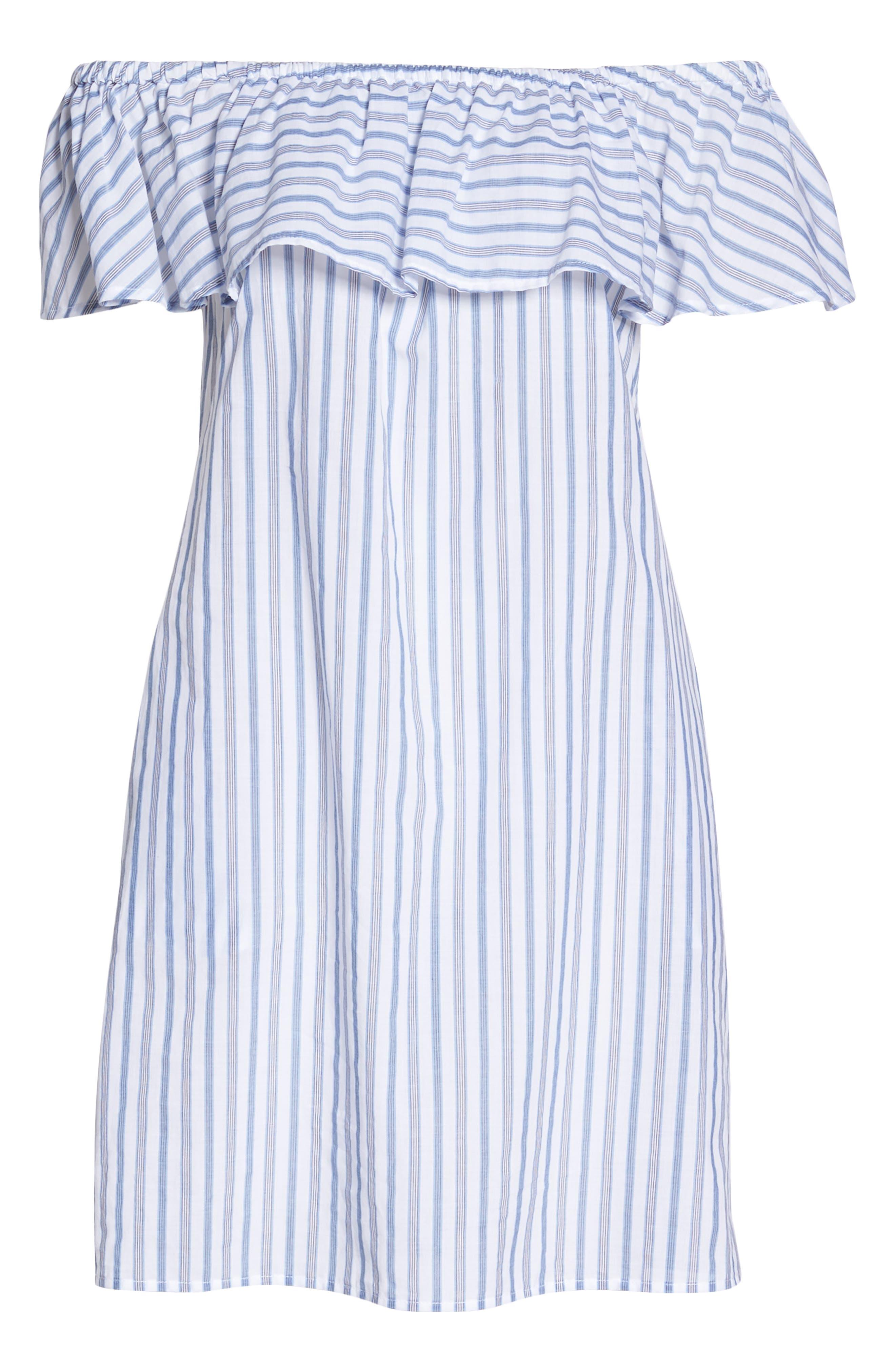 Ticking Stripe Off the Shoulder Cover-Up Dress,                             Alternate thumbnail 6, color,                             100
