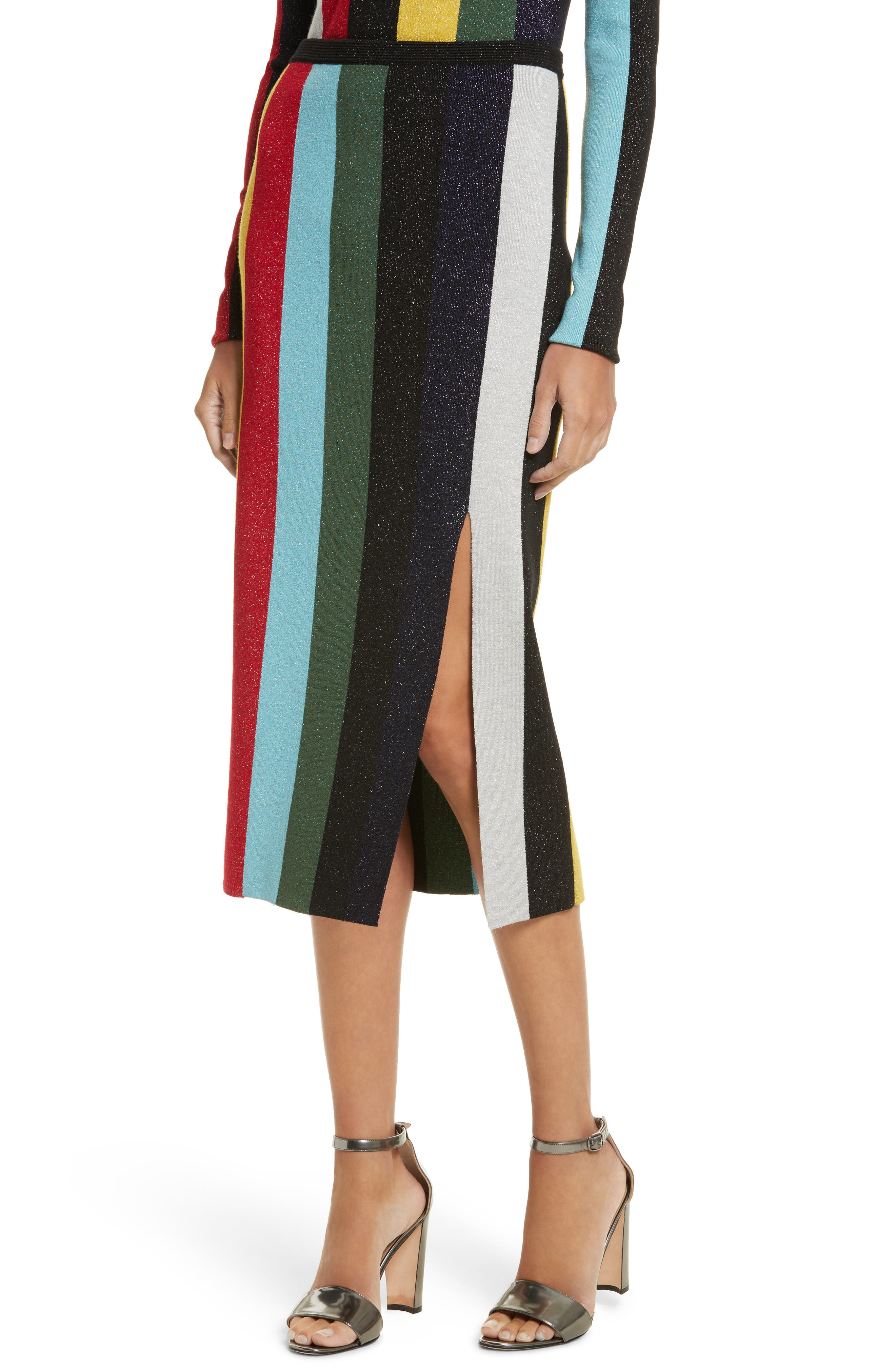 Metallic Stripe Knit Pencil Skirt,                             Alternate thumbnail 4, color,                             008