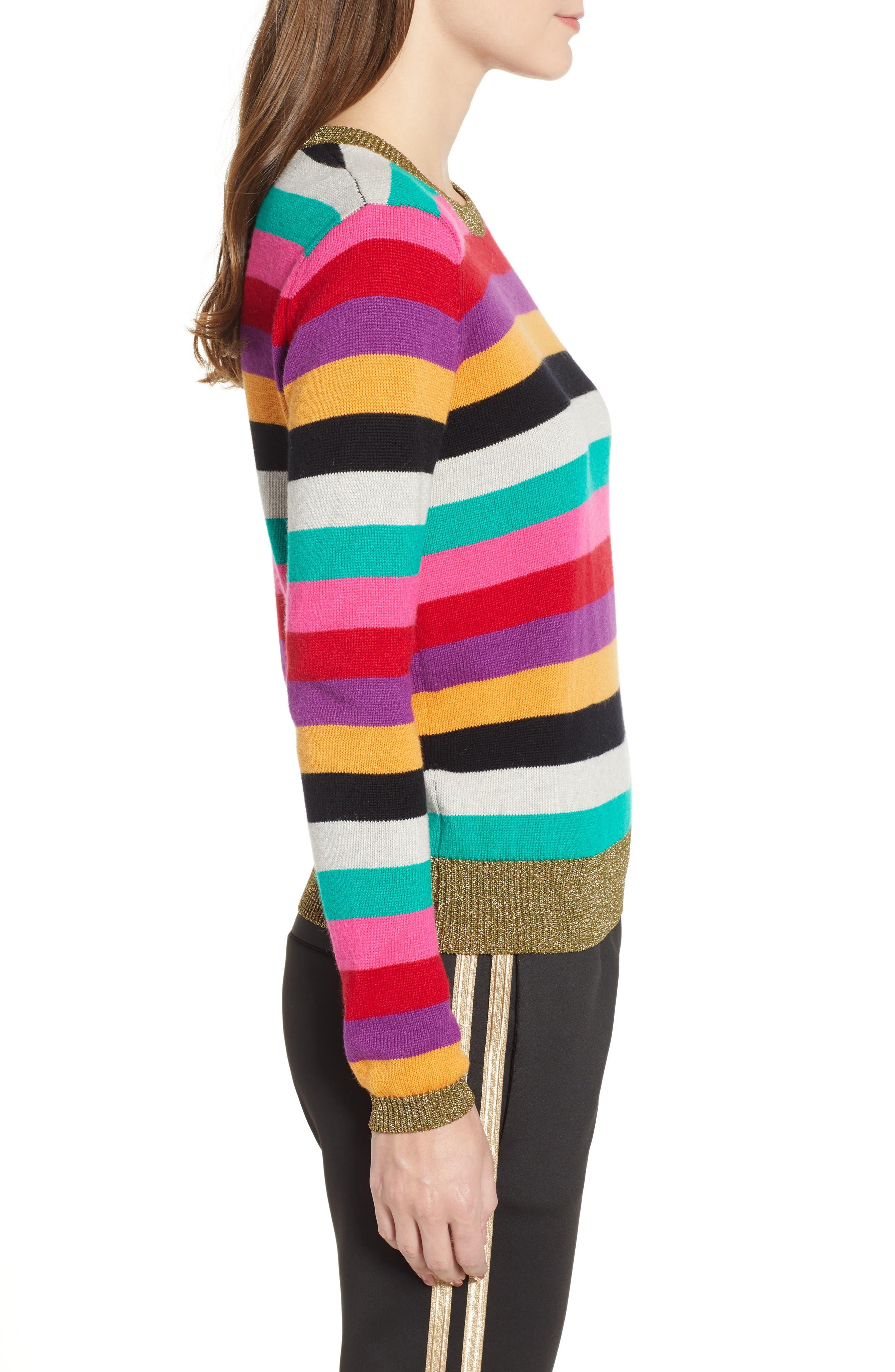 Stripe Metallic Trim Sweater,                             Alternate thumbnail 3, color,                             MULTICOLOR