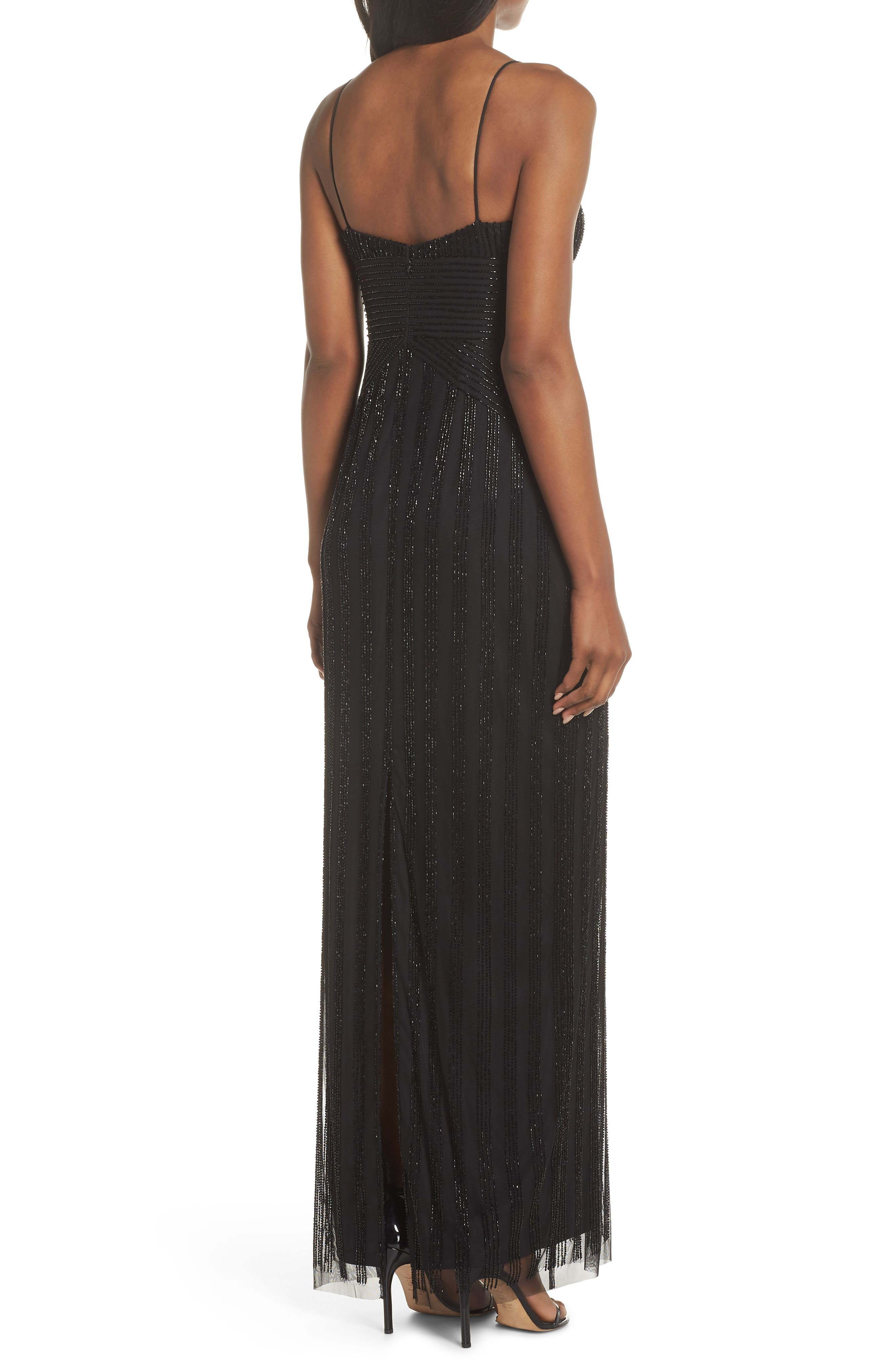 V-Neck Beaded Stripe Gown,                             Alternate thumbnail 2, color,                             BLACK