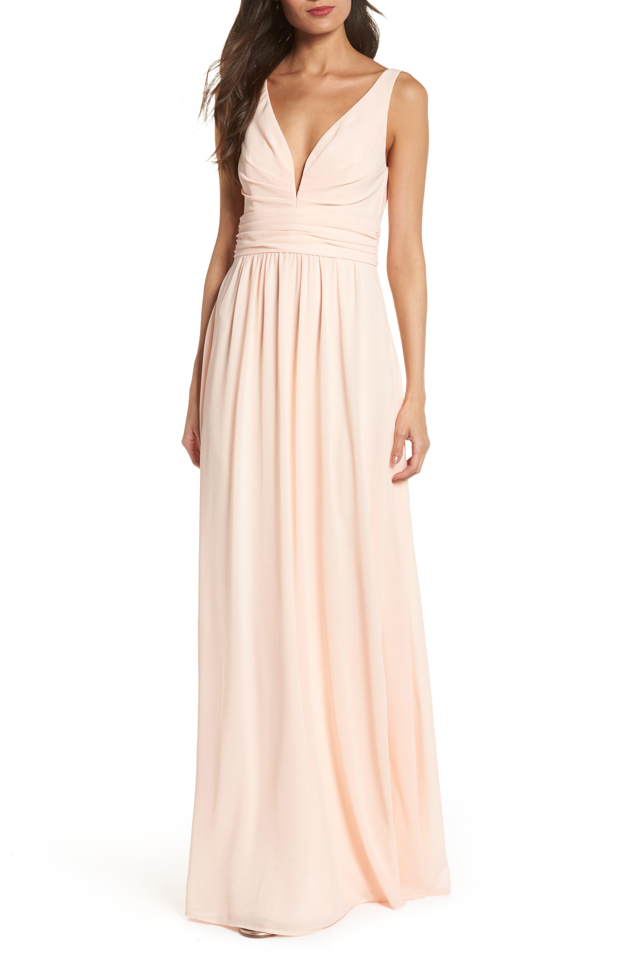 Lulus V-Neck Chiffon Gown, Pink