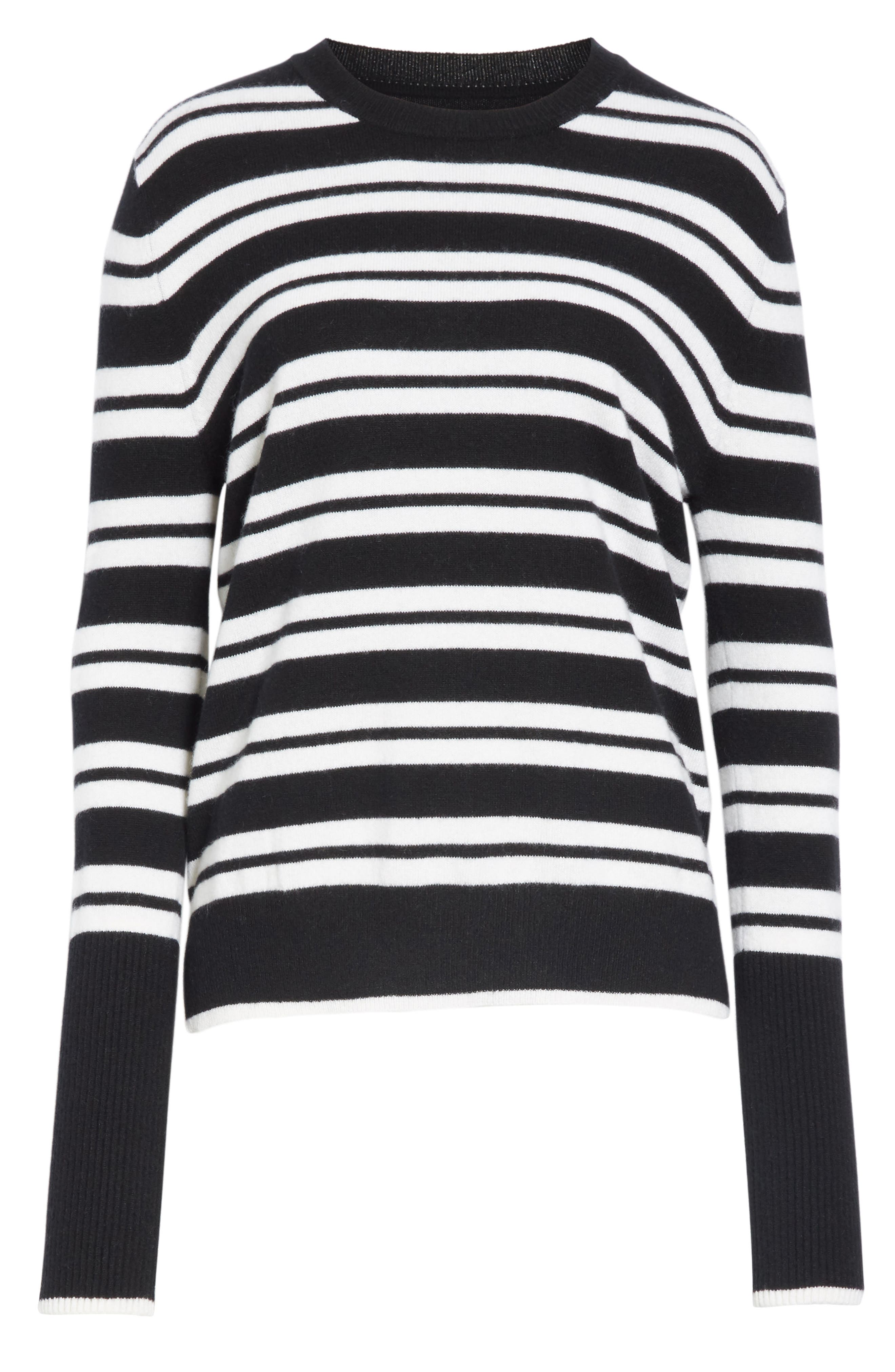 Le Ligne Tripe Stripe Cashmere Sweater,                             Alternate thumbnail 6, color,                             BLACK/ CREAM