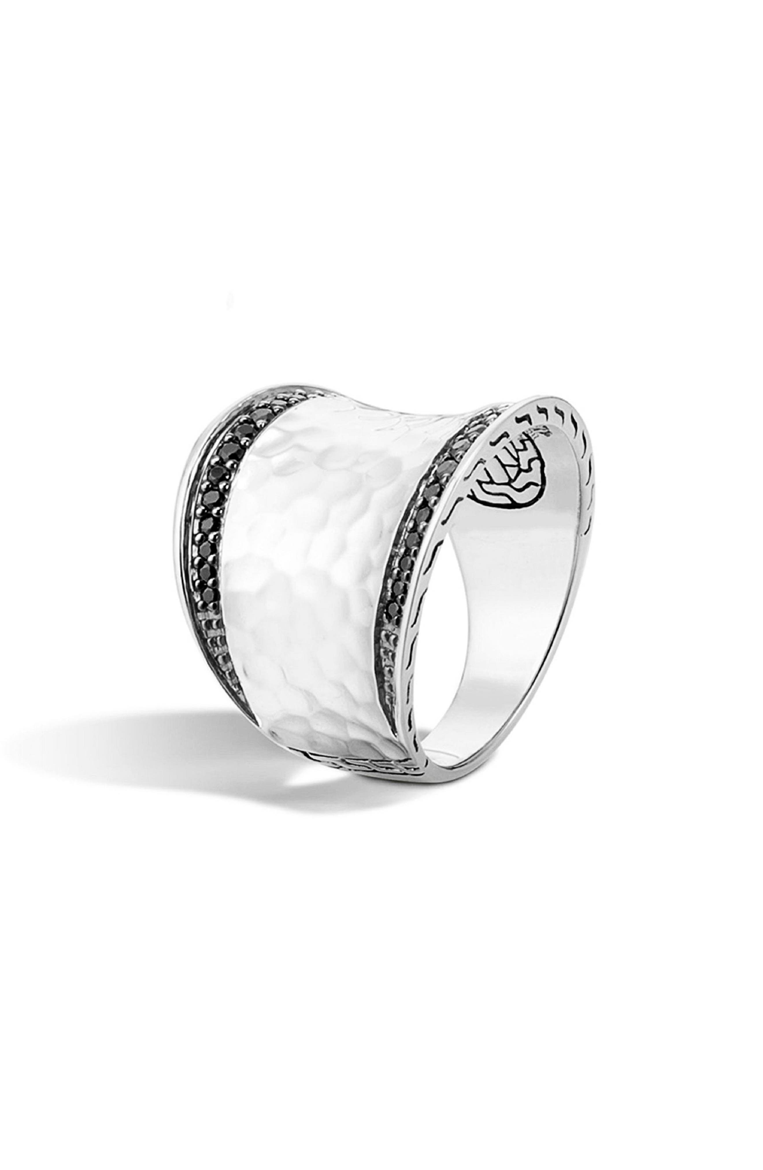 'Classic Chain' Small Saddle Ring,                             Main thumbnail 1, color,                             SILVER/ BLACK SAPPHIRE