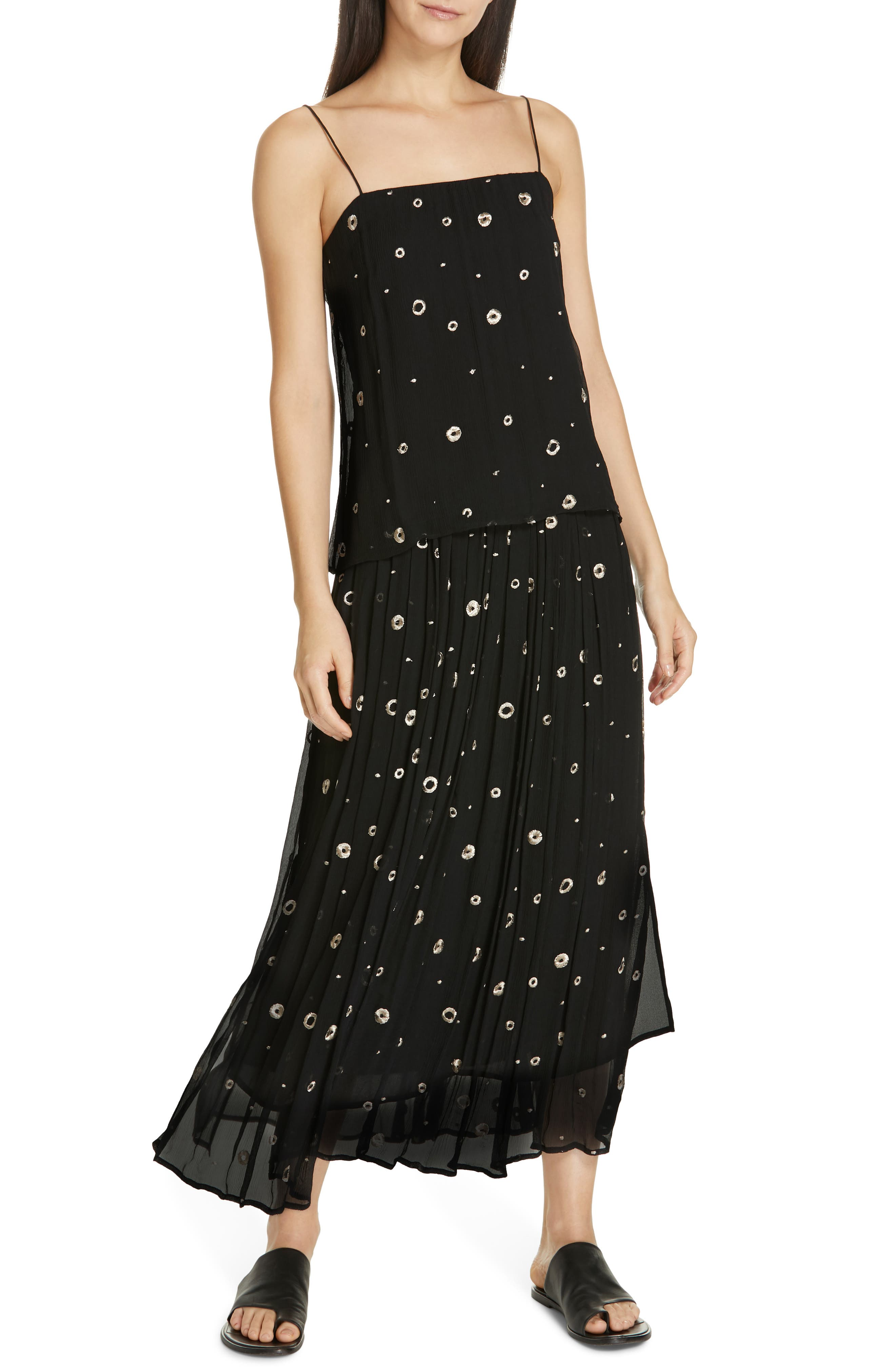 Open Dot Metallic Embroidered Silk Camisole,                             Alternate thumbnail 7, color,                             BLACK