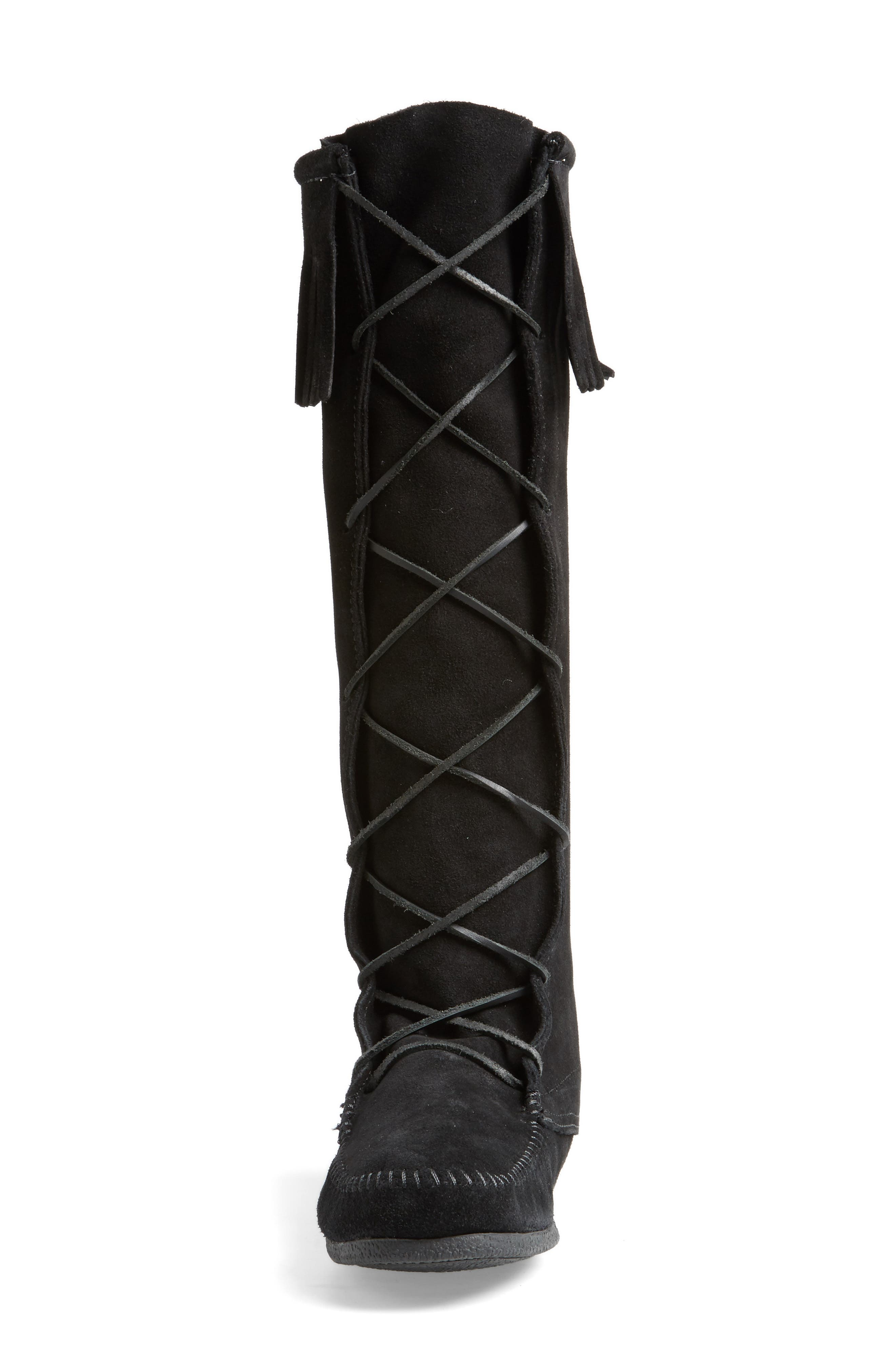 Knee High Moccasin Boot,                             Alternate thumbnail 4, color,                             BLACK SUEDE
