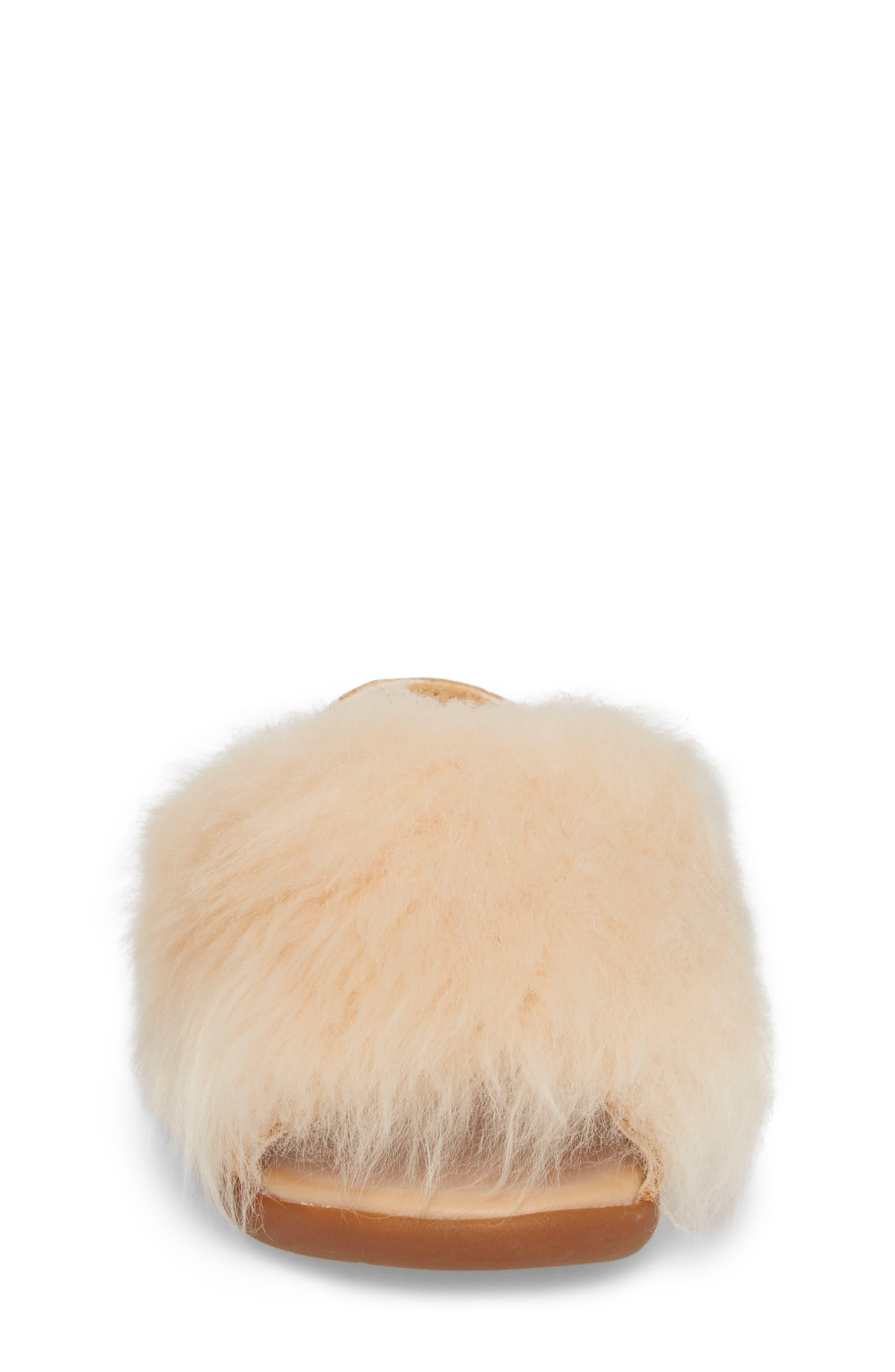 Holly Genuine Shearling Sandal,                             Alternate thumbnail 4, color,                             SOFT OCHRE