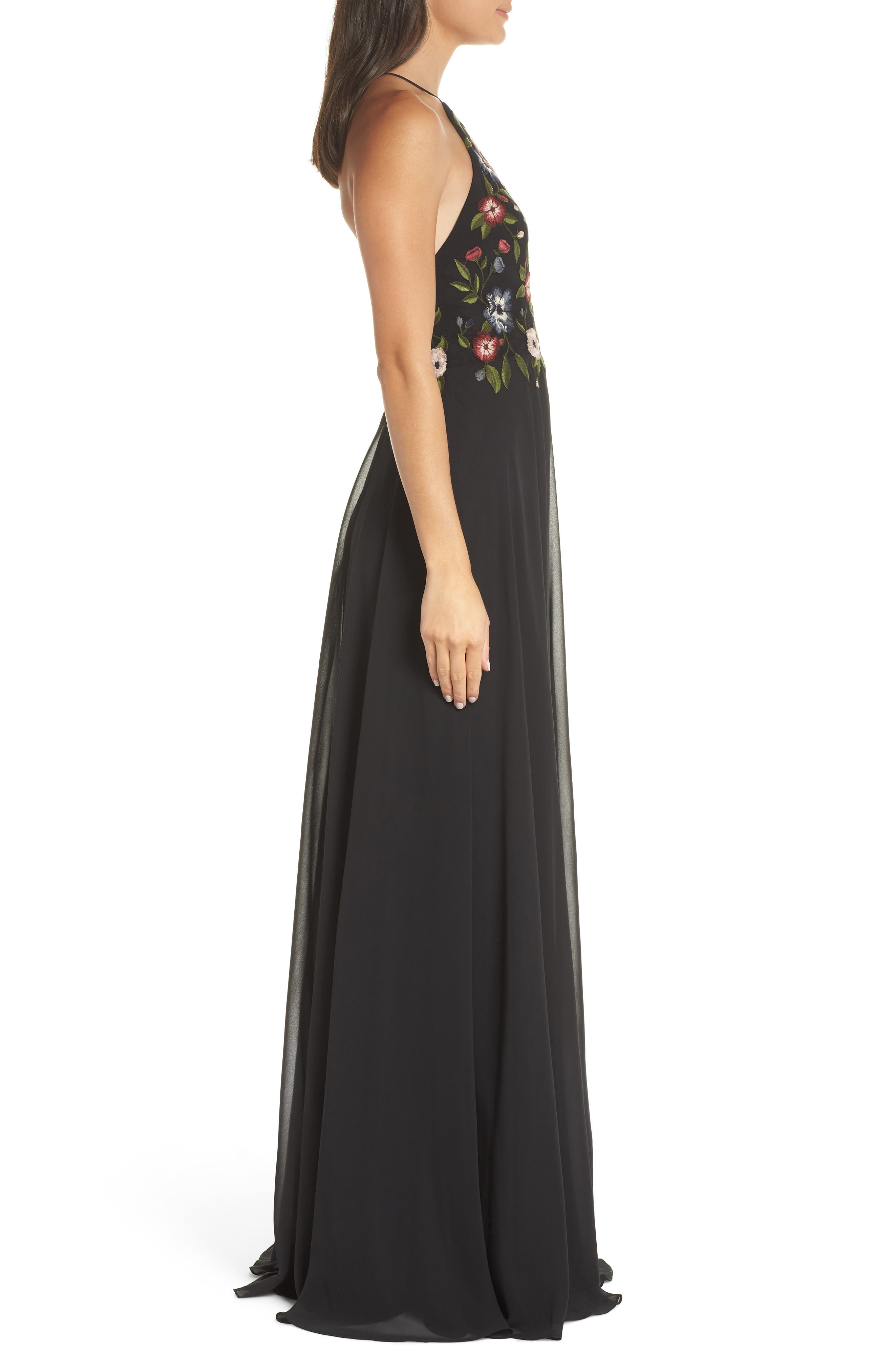 Sophie Embroidered Luxe Chiffon Gown,                             Alternate thumbnail 3, color,                             BLACK MULTI