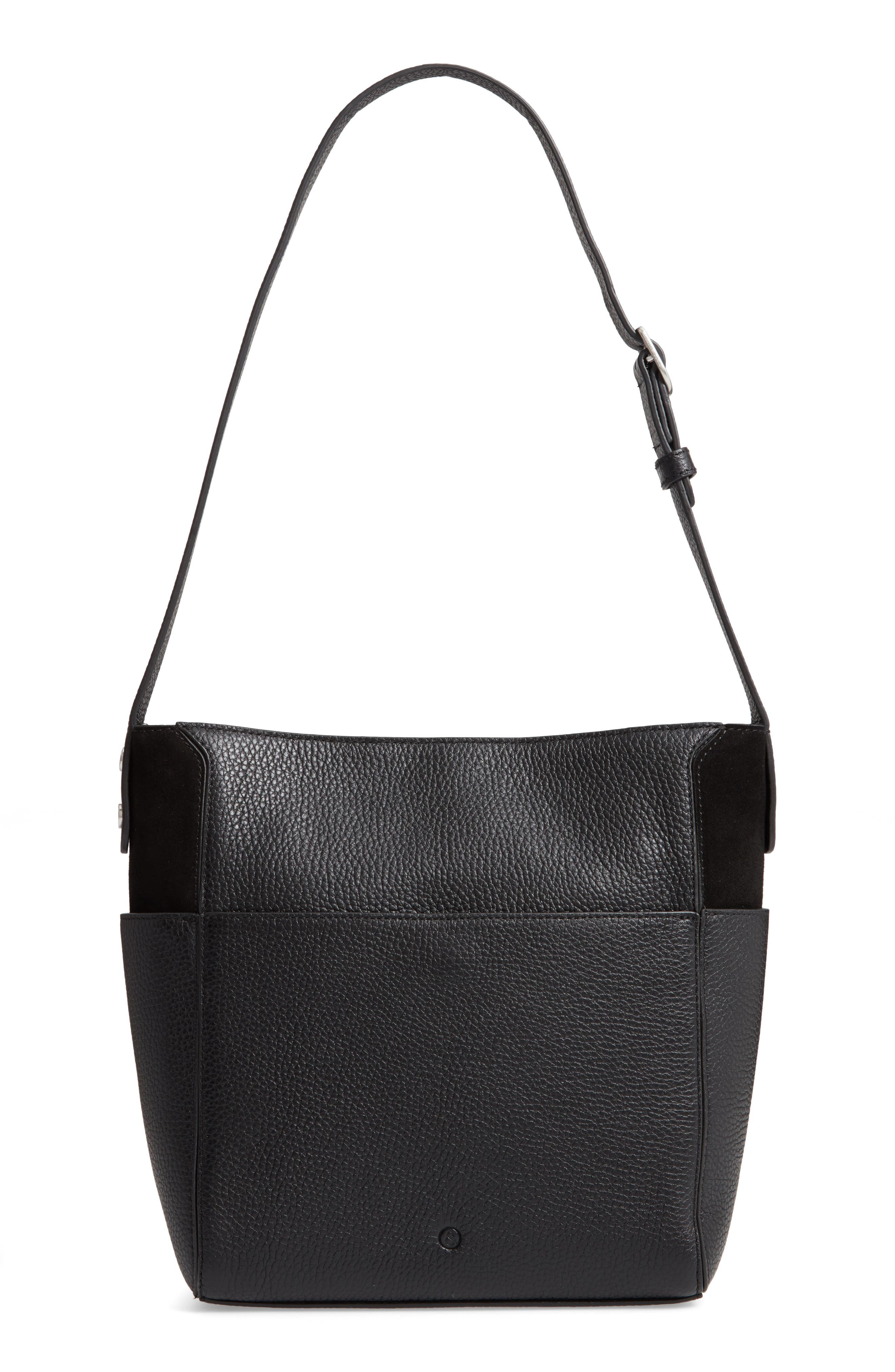 Campbell Leather & Suede Bucket Bag,                             Alternate thumbnail 3, color,                             BLACK
