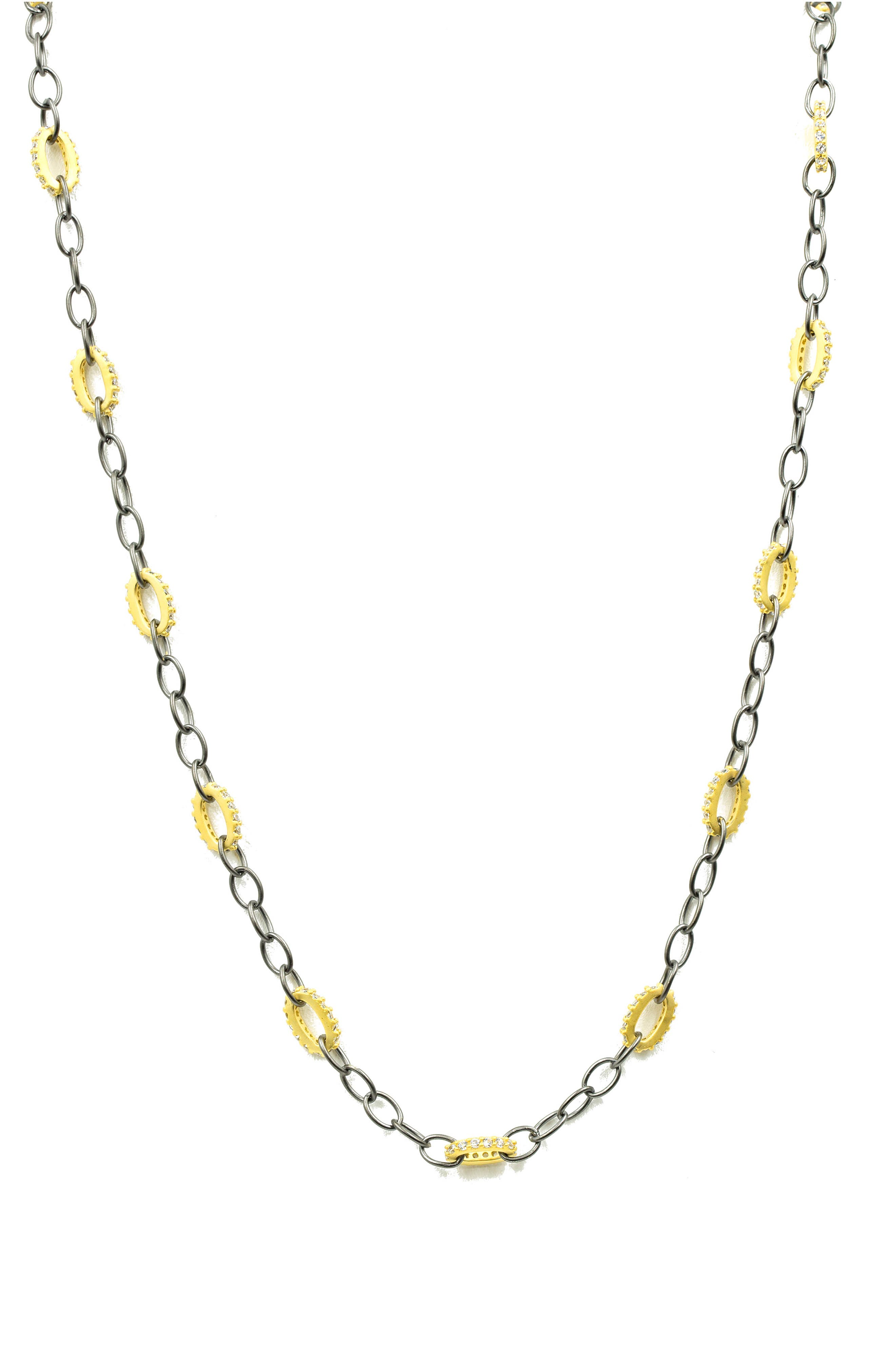 Alternating Chain Link Necklace,                             Main thumbnail 1, color,                             GOLD/ BLACK