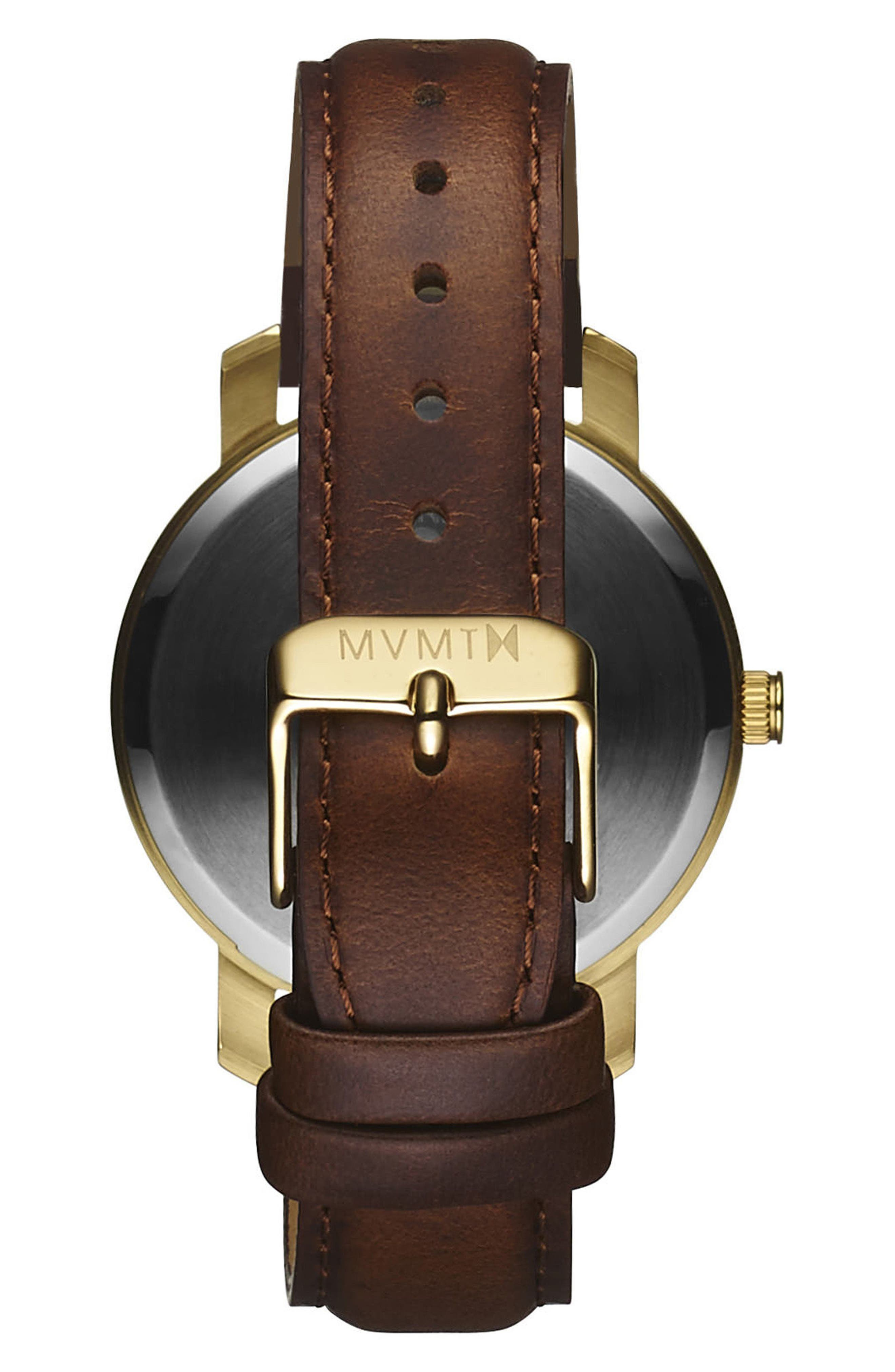 Leather Strap Watch, 38mm,                             Alternate thumbnail 2, color,                             BROWN/ GOLD