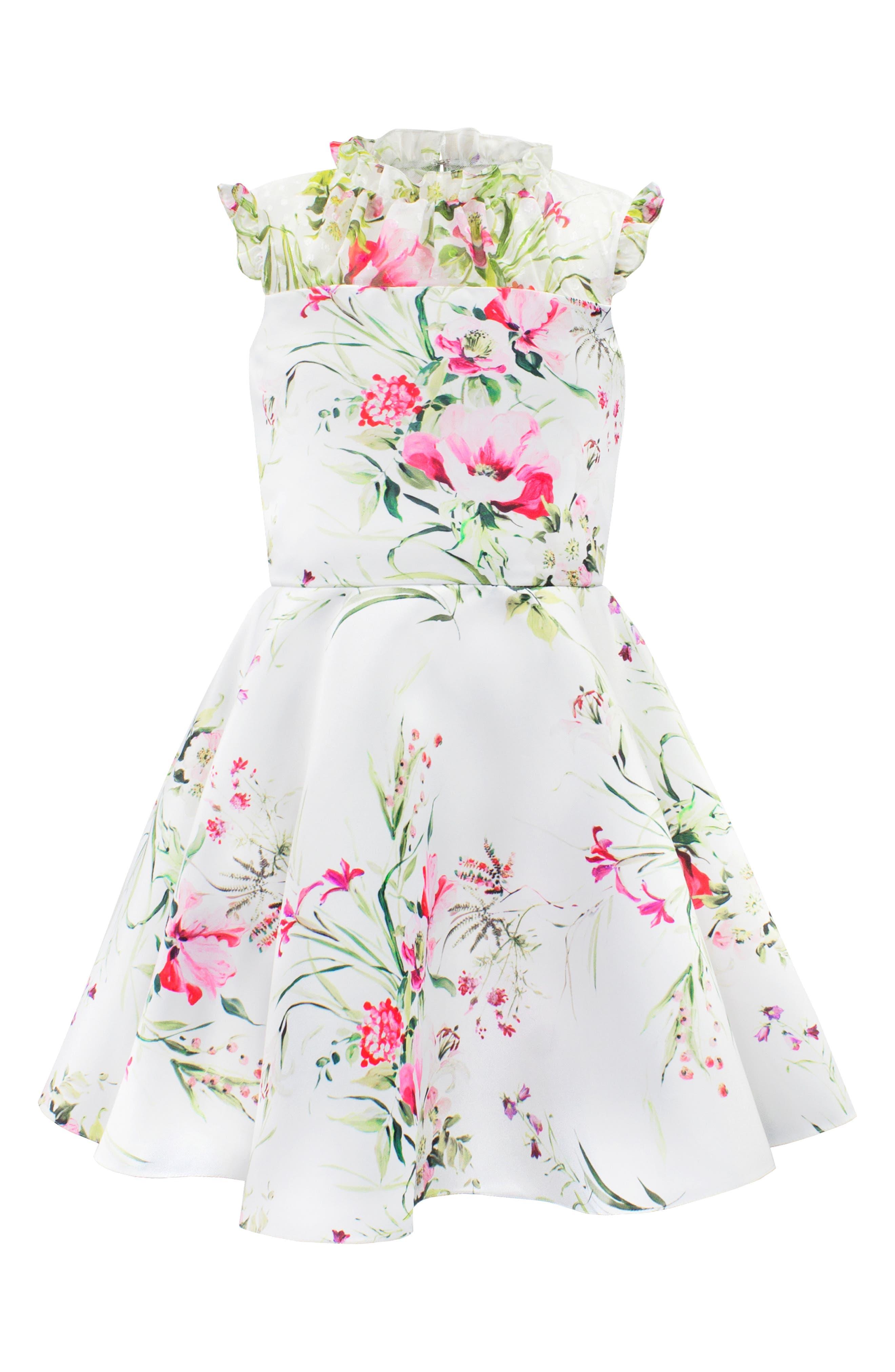 Floral Print Satin & Swiss Dot Party Dress,                             Main thumbnail 1, color,                             IVORY/ PINK